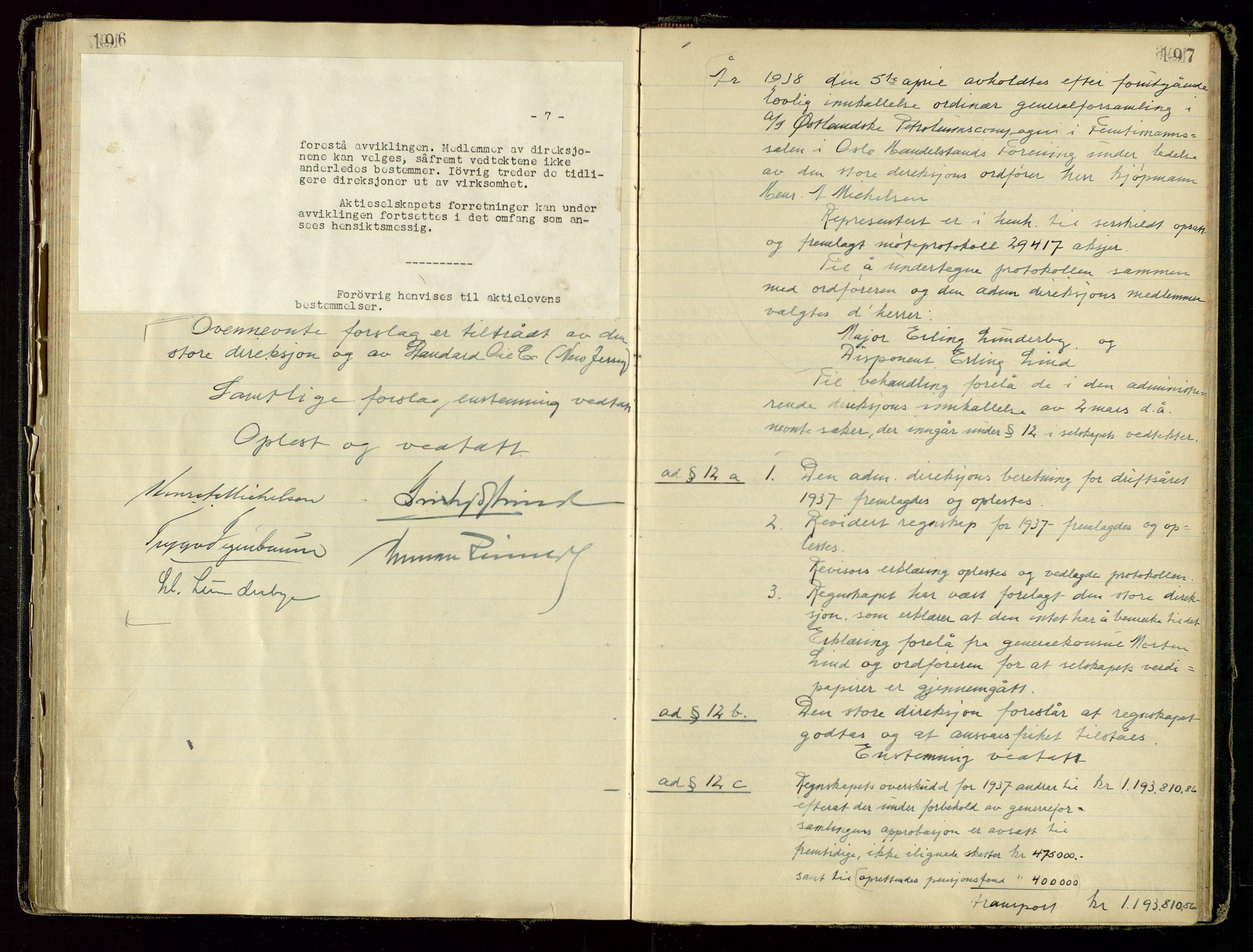 SAST, PA 1534 - Østlandske Petroleumscompagni A/S, A/Aa/L0001: Generalforsamlinger og direksjonsprotokoller., 1892-1960, s. 196-197