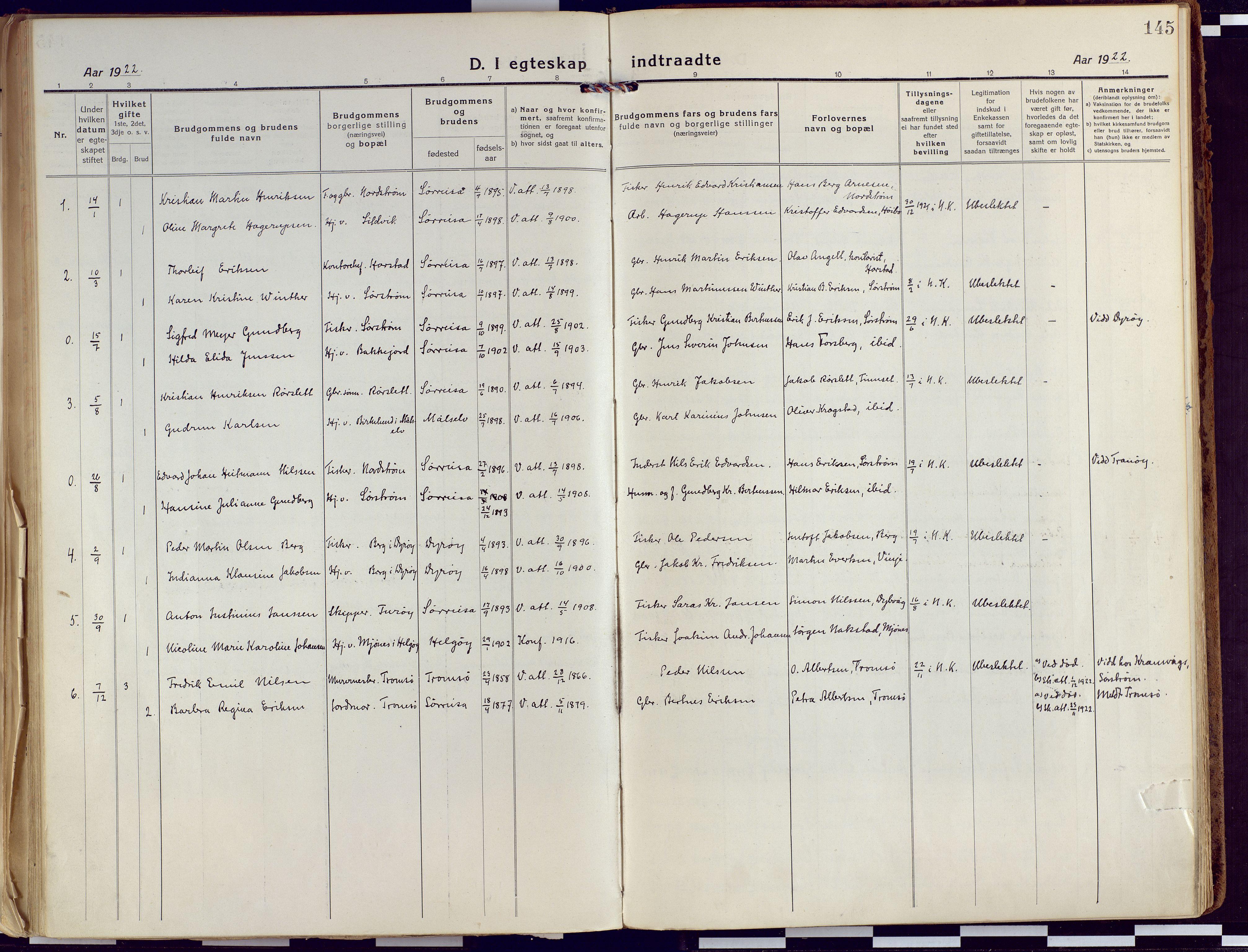 SATØ, Tranøy sokneprestkontor, I/Ia/Iaa/L0015kirke: Ministerialbok nr. 15, 1919-1928, s. 145