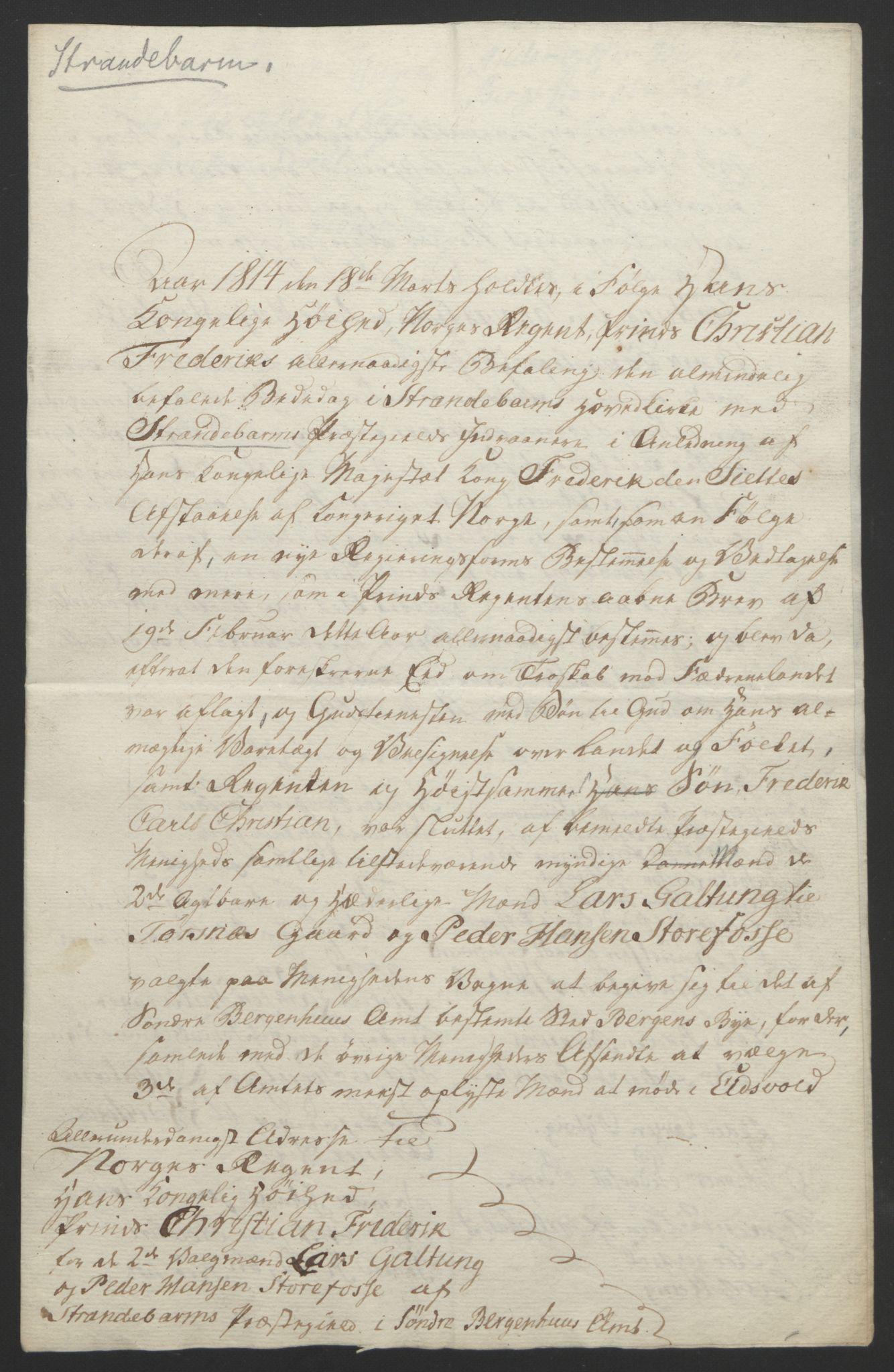 RA, Statsrådssekretariatet, D/Db/L0008: Fullmakter for Eidsvollsrepresentantene i 1814. , 1814, s. 298