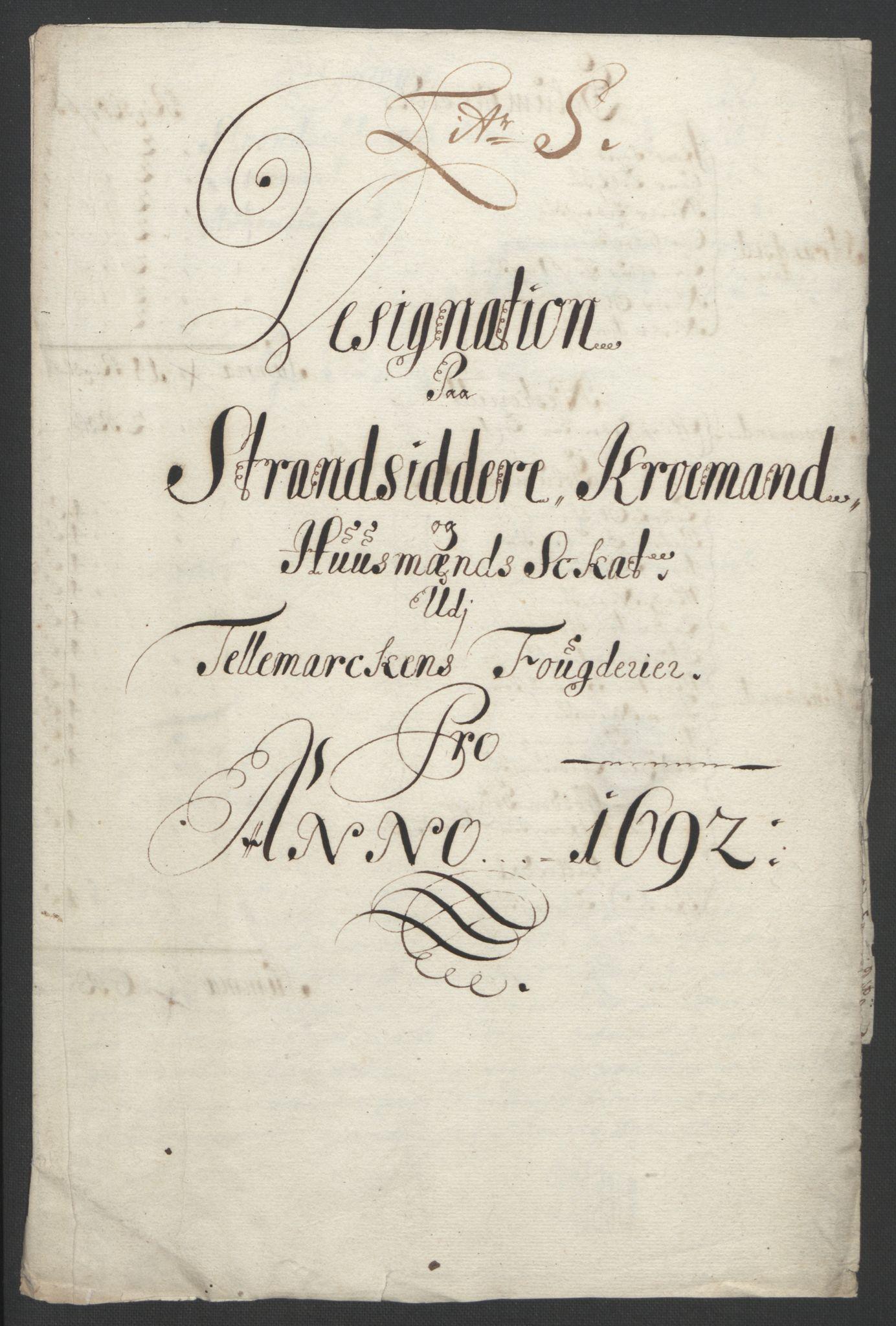 RA, Rentekammeret inntil 1814, Reviderte regnskaper, Fogderegnskap, R35/L2090: Fogderegnskap Øvre og Nedre Telemark, 1692, s. 279