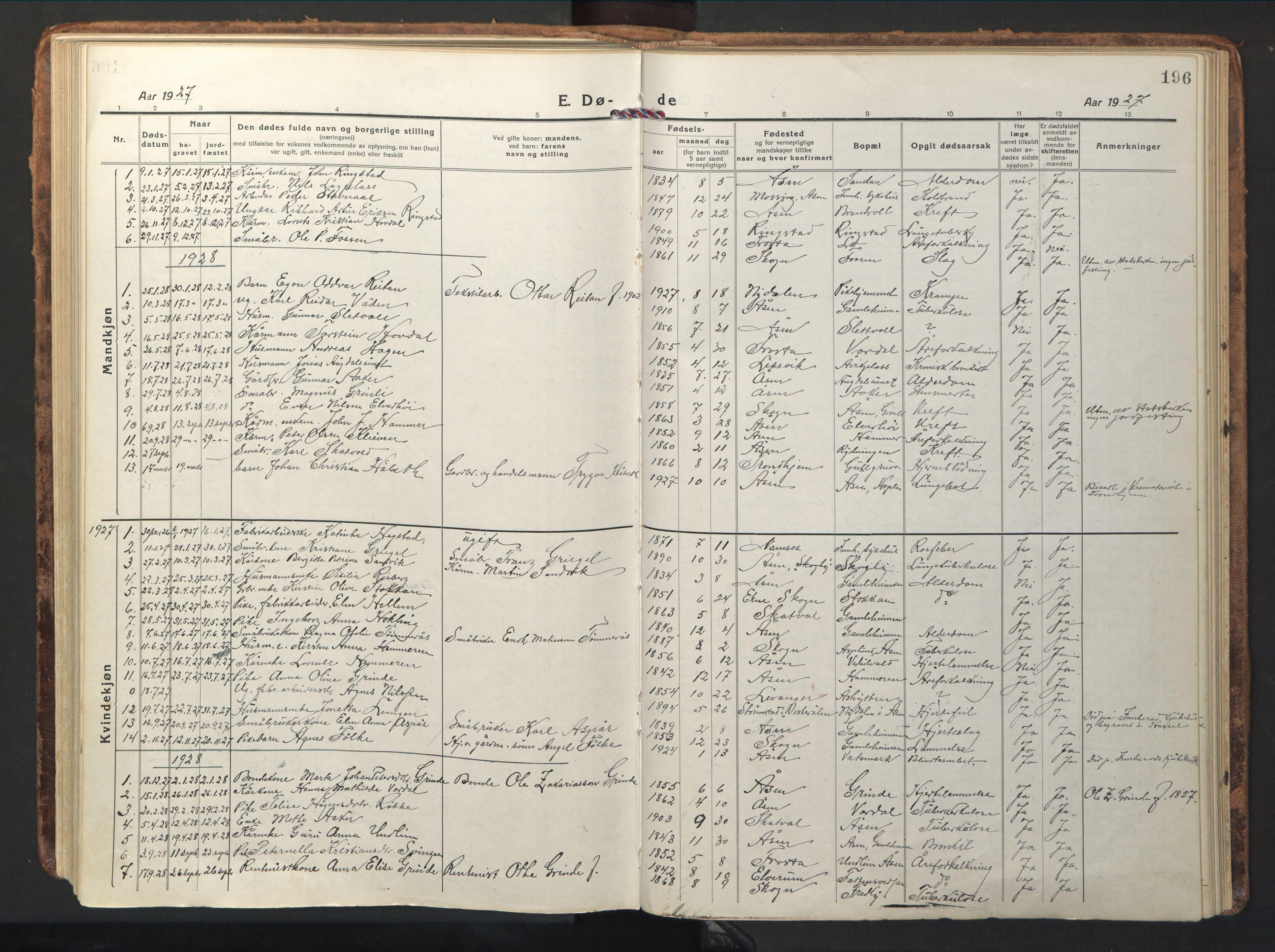 SAT, Ministerialprotokoller, klokkerbøker og fødselsregistre - Nord-Trøndelag, 714/L0136: Klokkerbok nr. 714C05, 1918-1957, s. 196