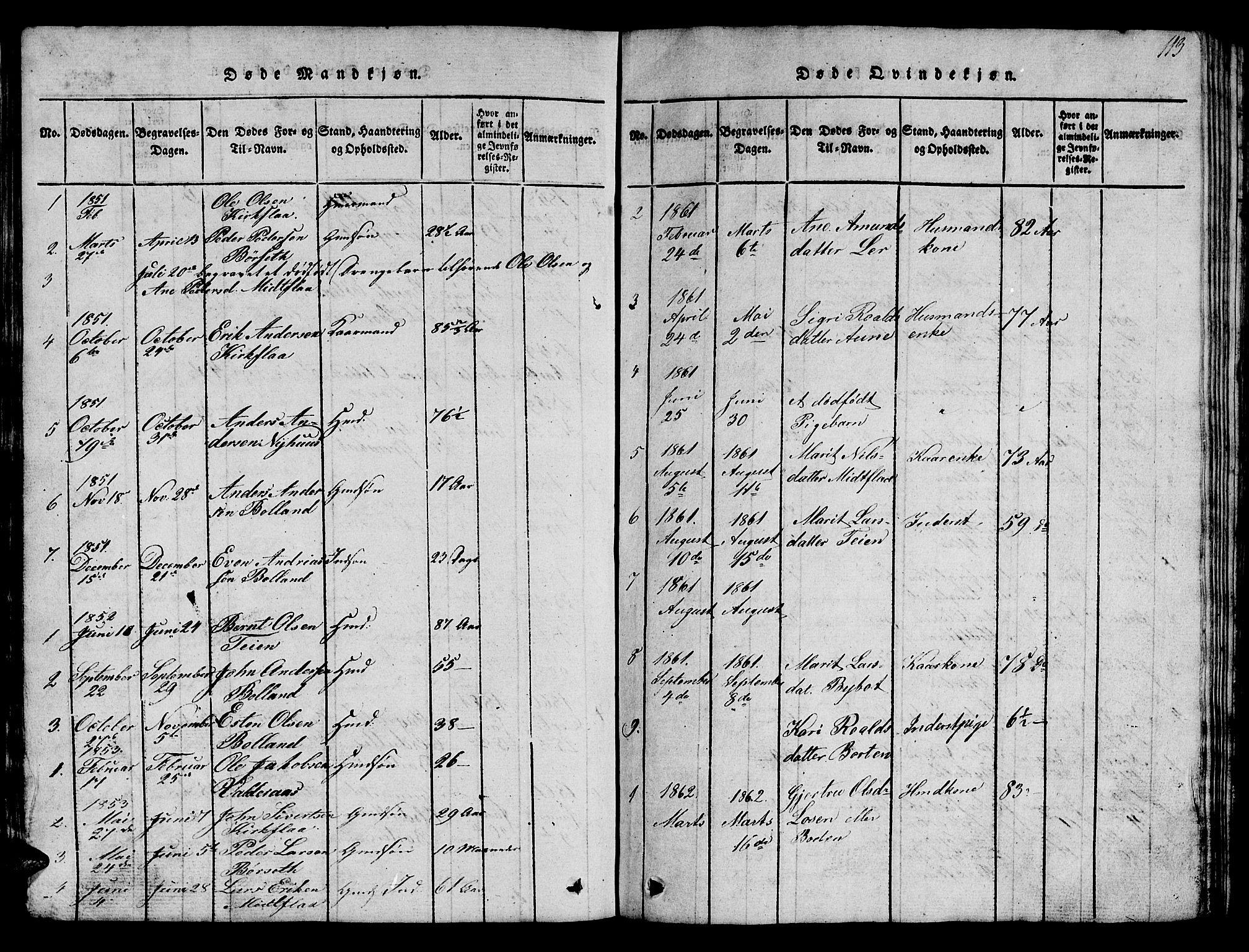 SAT, Ministerialprotokoller, klokkerbøker og fødselsregistre - Sør-Trøndelag, 693/L1121: Klokkerbok nr. 693C02, 1816-1869, s. 113