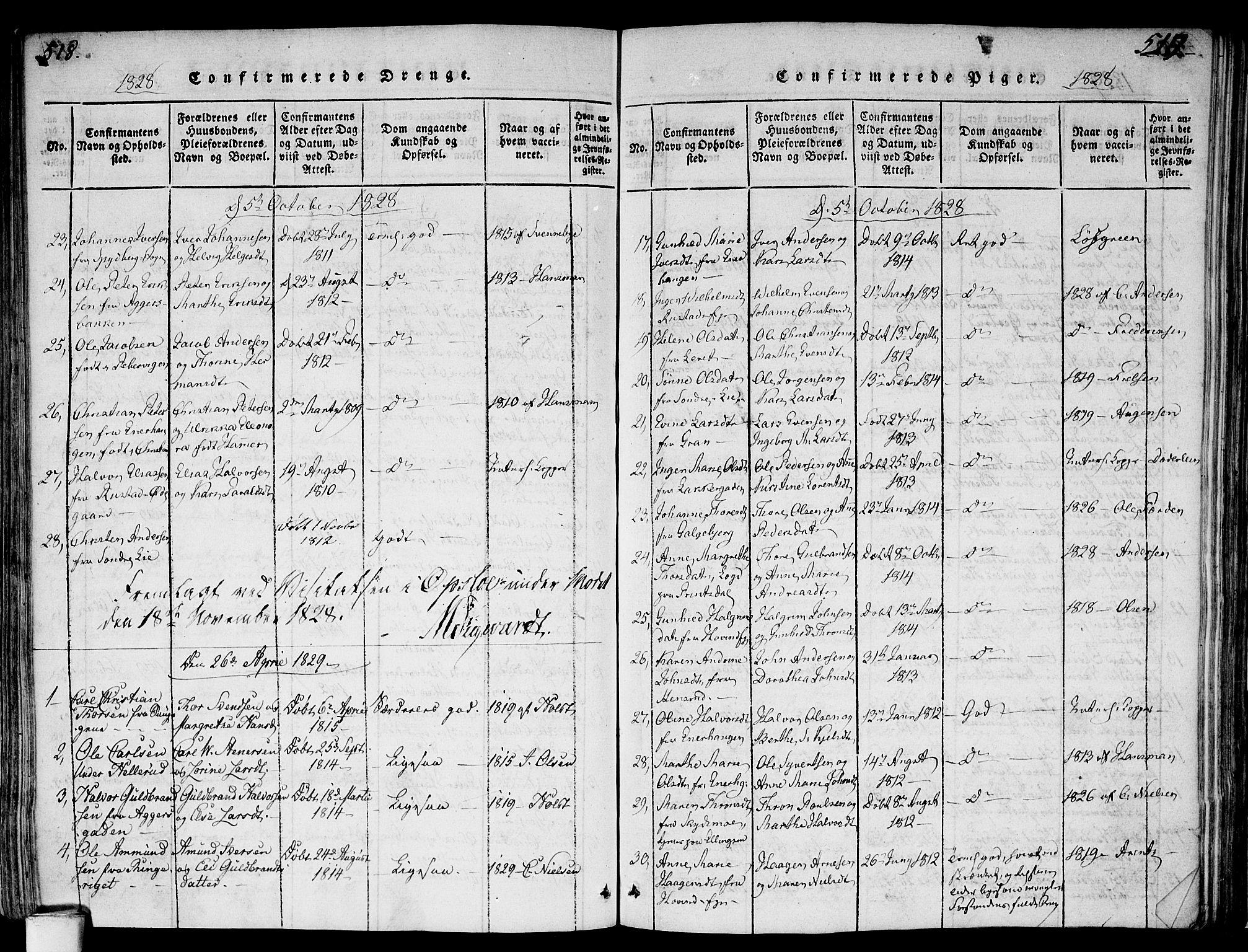 SAO, Gamlebyen prestekontor Kirkebøker, F/Fa/L0002: Ministerialbok nr. 2, 1817-1829, s. 518-519