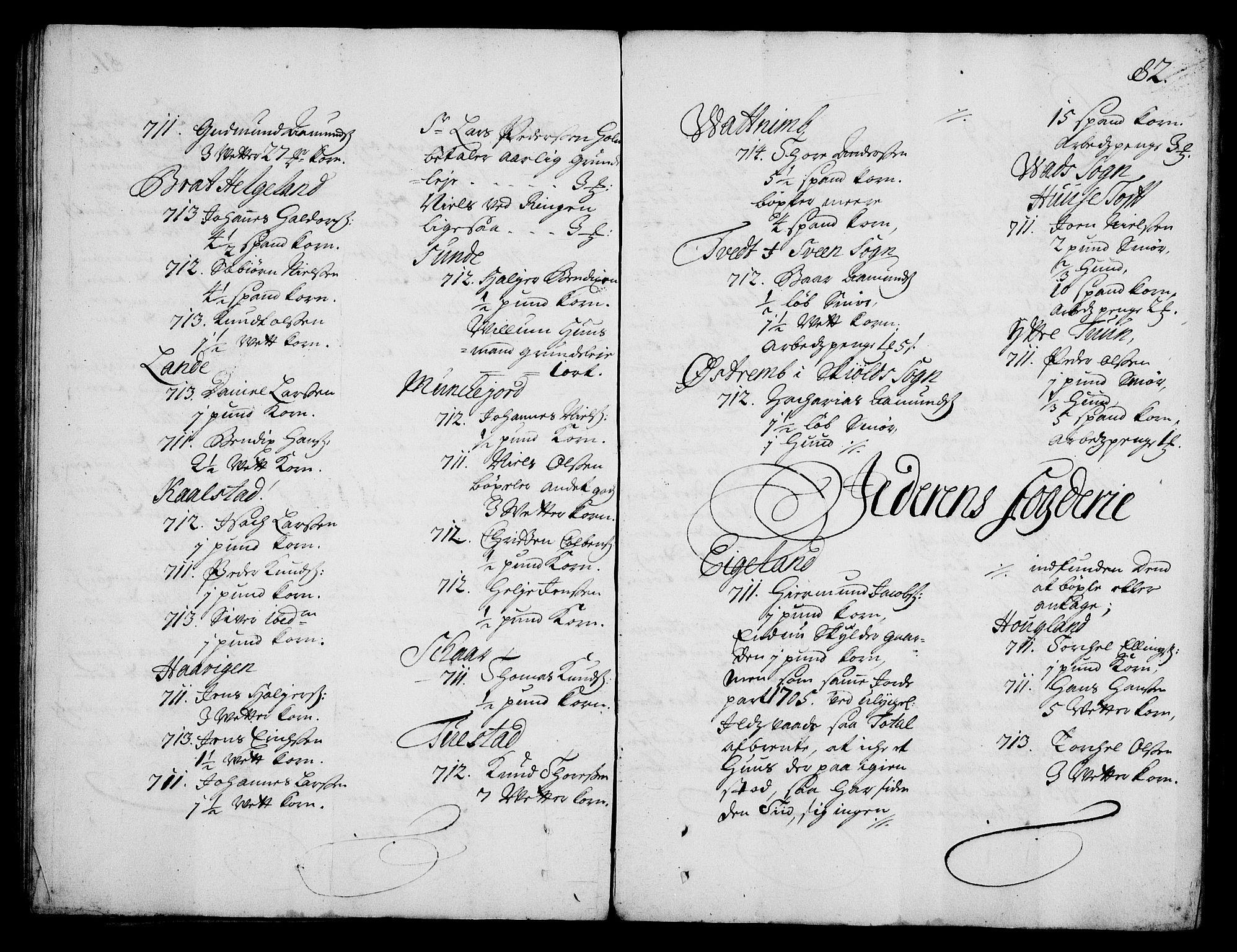 RA, Rentekammeret inntil 1814, Realistisk ordnet avdeling, On/L0003: [Jj 4]: Kommisjonsforretning over Vilhelm Hanssøns forpaktning av Halsnøy klosters gods, 1712-1722, s. 81b-82a