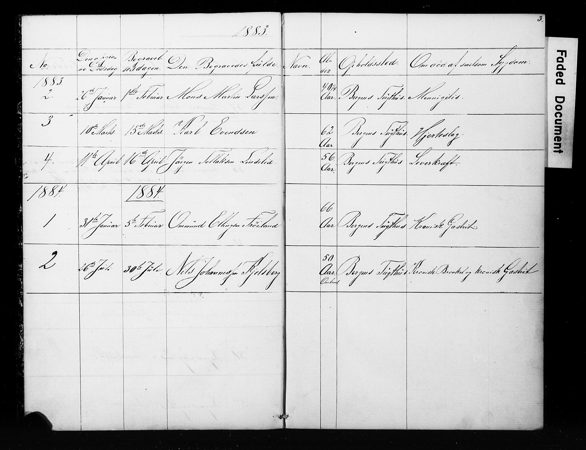 SAB, Bergens strafanstalts sokneprestembete*, Klokkerbok nr. A 1, 1874-1884, s. 3