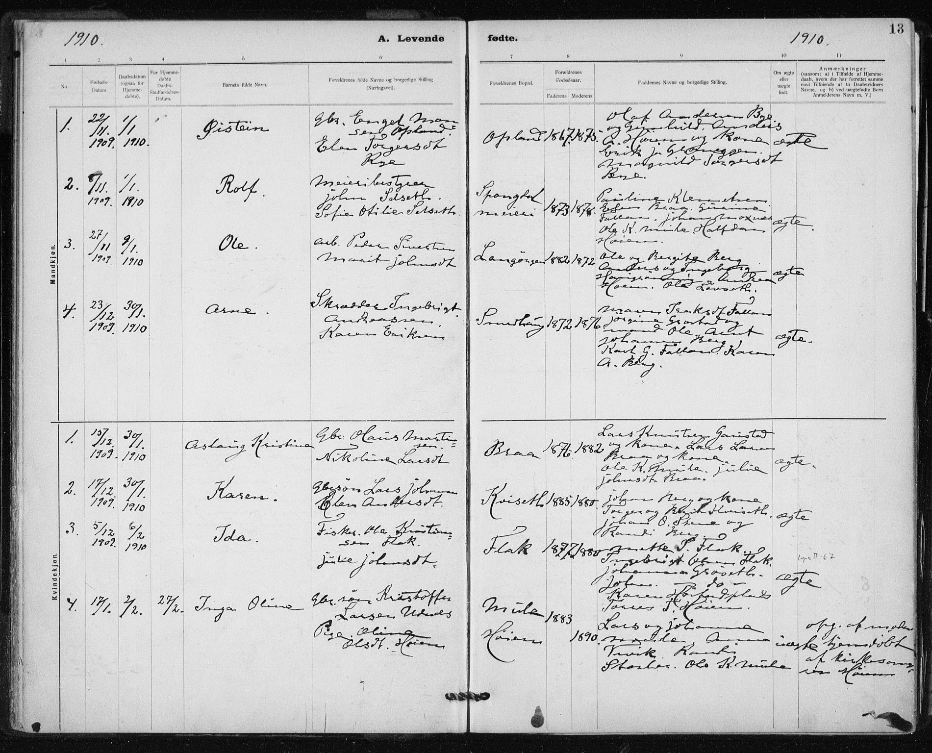 SAT, Ministerialprotokoller, klokkerbøker og fødselsregistre - Sør-Trøndelag, 612/L0381: Ministerialbok nr. 612A13, 1907-1923, s. 13