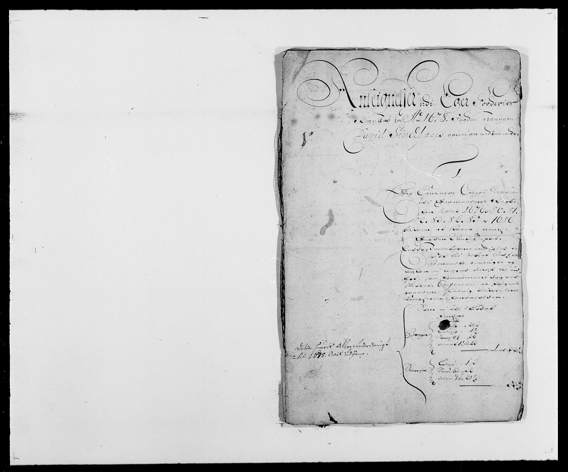 RA, Rentekammeret inntil 1814, Reviderte regnskaper, Fogderegnskap, R26/L1683: Fogderegnskap Eiker, 1678, s. 89