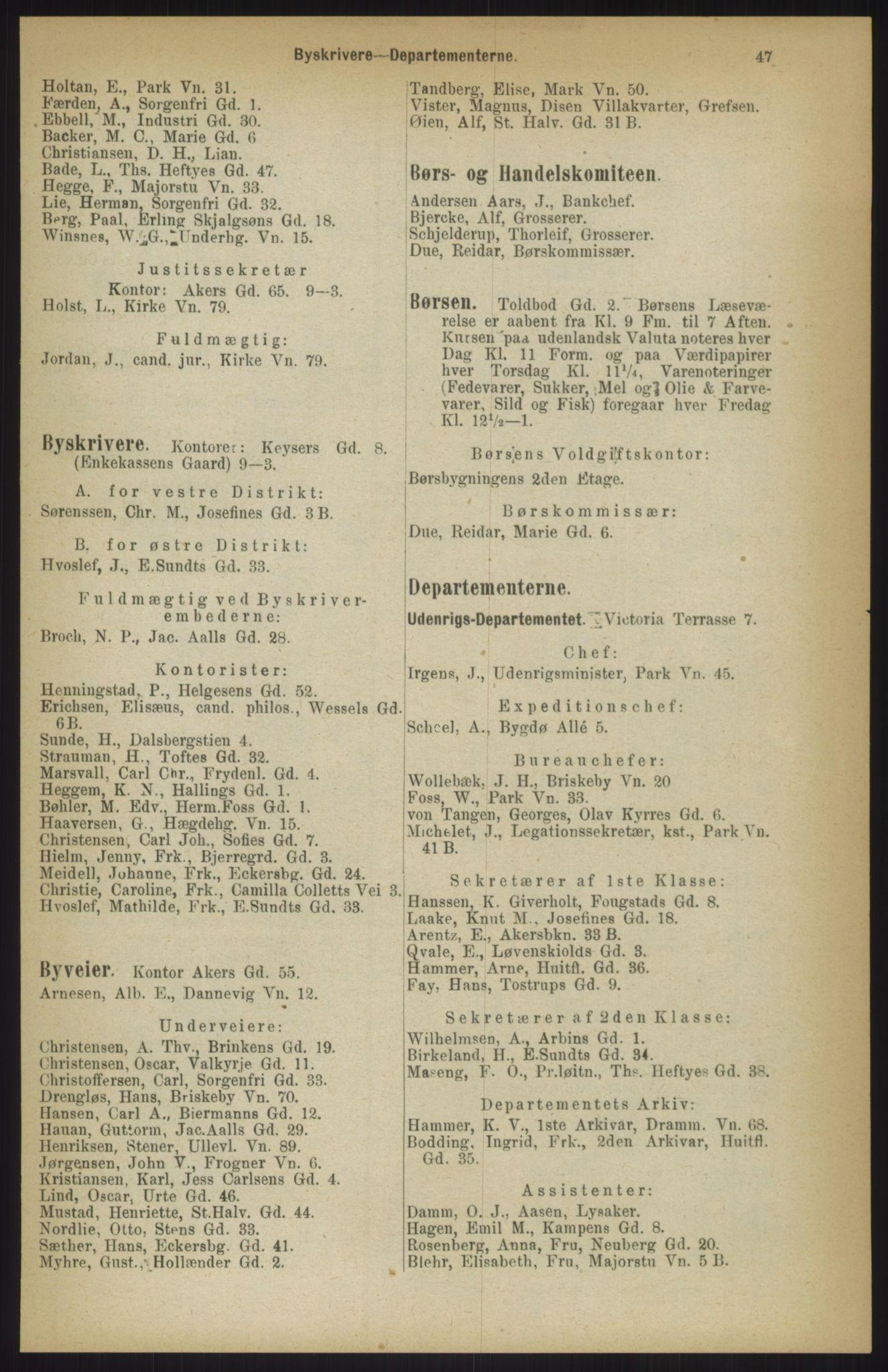RA, Kristiania adressebok (publikasjon)*, 1911, s. 47