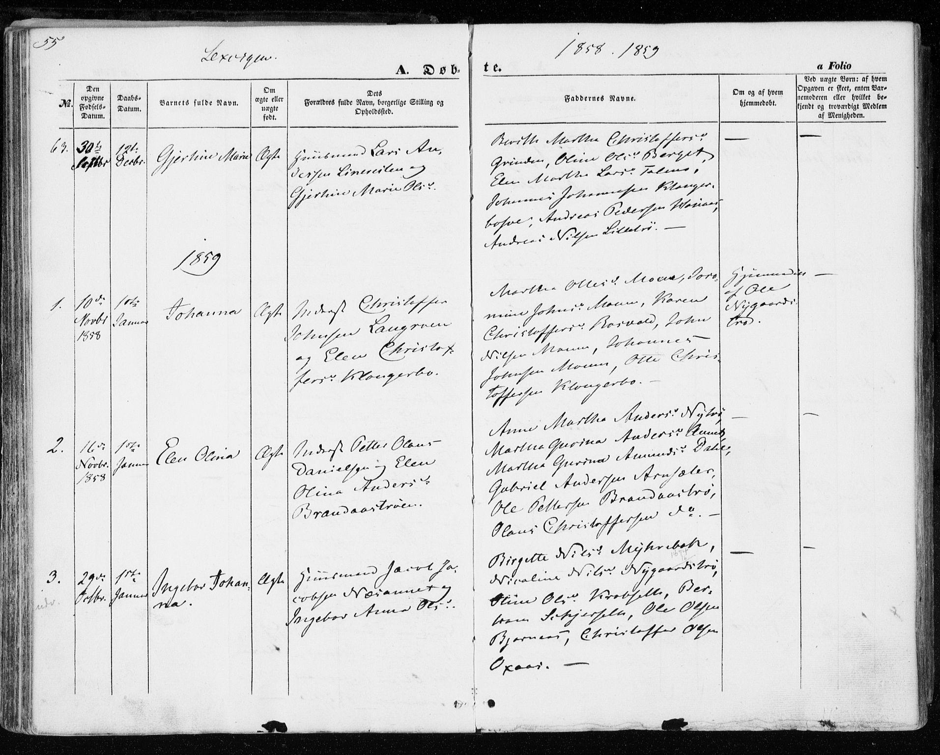 SAT, Ministerialprotokoller, klokkerbøker og fødselsregistre - Nord-Trøndelag, 701/L0008: Ministerialbok nr. 701A08 /1, 1854-1863, s. 55