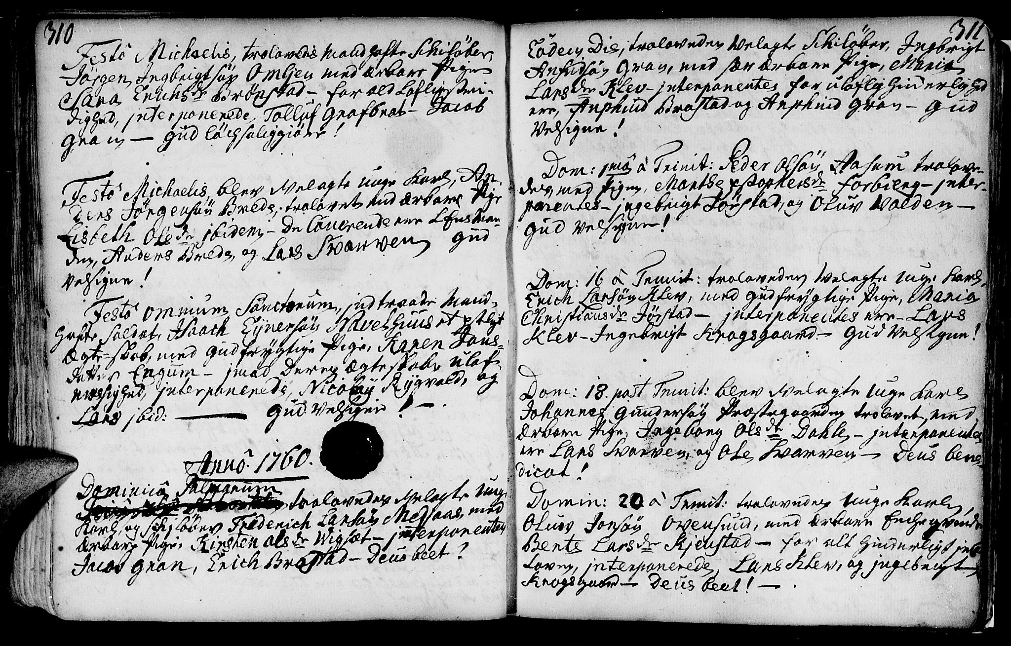 SAT, Ministerialprotokoller, klokkerbøker og fødselsregistre - Nord-Trøndelag, 749/L0467: Ministerialbok nr. 749A01, 1733-1787, s. 310-311