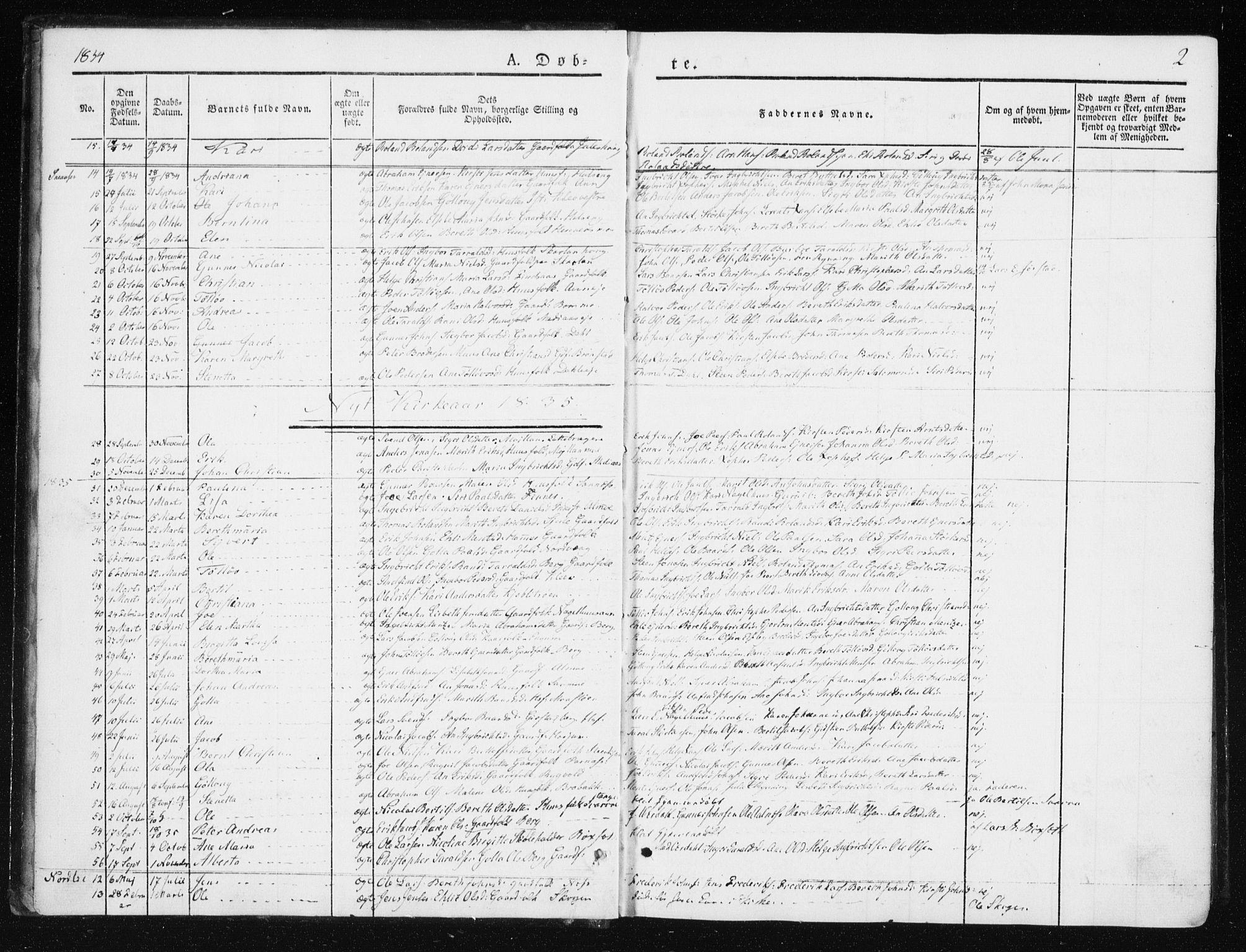 SAT, Ministerialprotokoller, klokkerbøker og fødselsregistre - Nord-Trøndelag, 749/L0470: Ministerialbok nr. 749A04, 1834-1853, s. 2