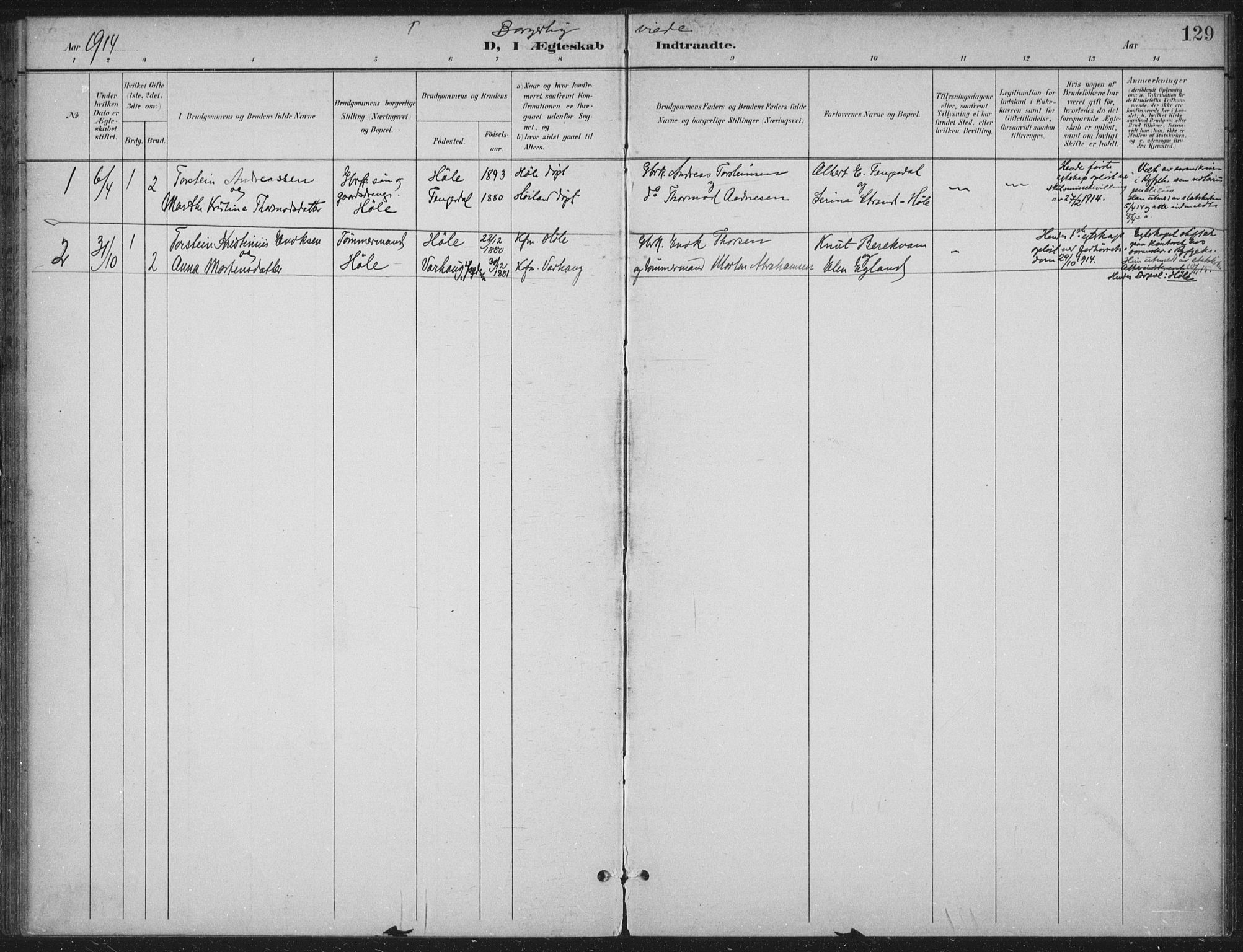 SAST, Høgsfjord sokneprestkontor, H/Ha/Haa/L0008: Ministerialbok nr. A 8, 1898-1920, s. 129