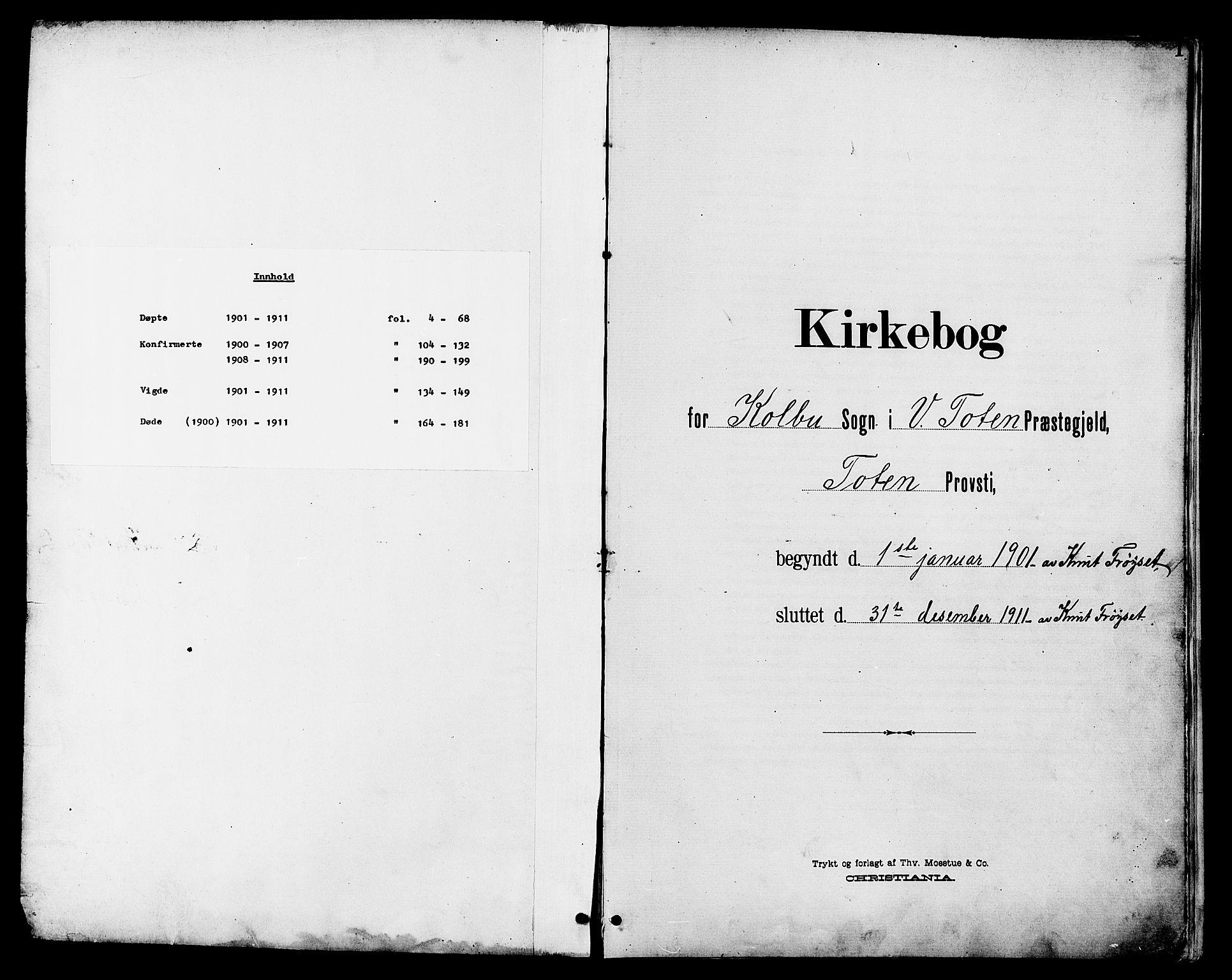 SAH, Vestre Toten prestekontor, Klokkerbok nr. 11, 1901-1911, s. 1