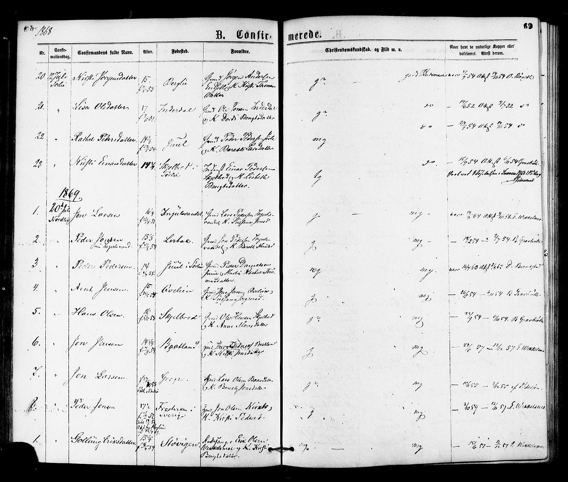 SAT, Ministerialprotokoller, klokkerbøker og fødselsregistre - Nord-Trøndelag, 755/L0493: Ministerialbok nr. 755A02, 1865-1881, s. 69