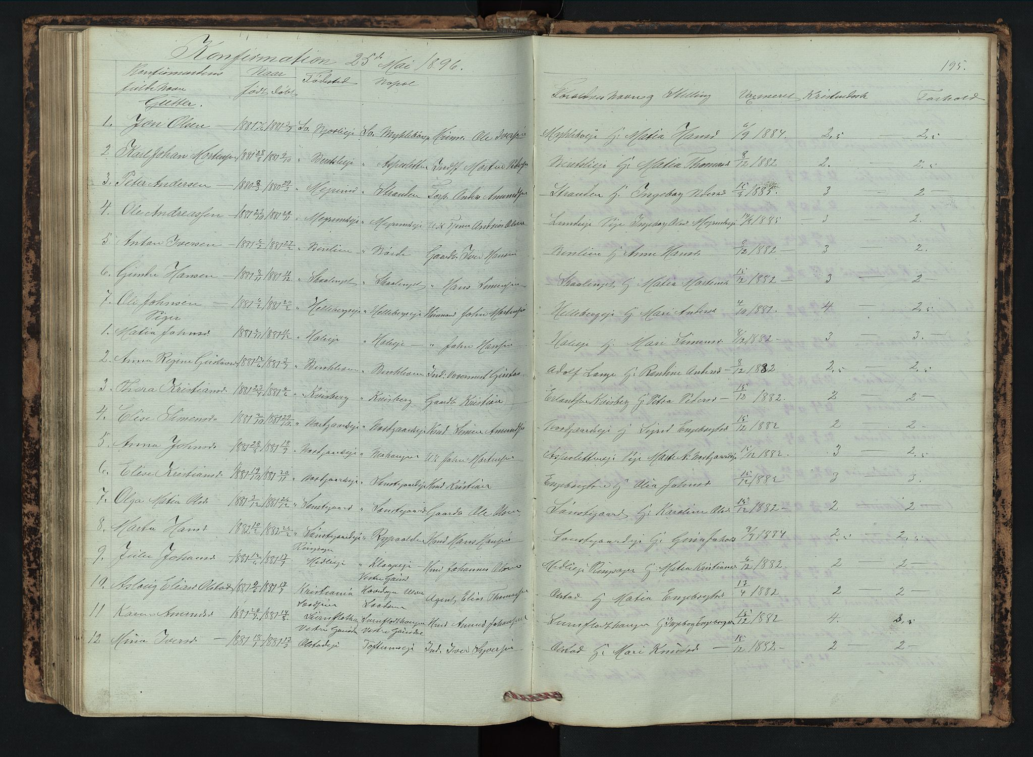 SAH, Vestre Gausdal prestekontor, Klokkerbok nr. 2, 1874-1897, s. 195