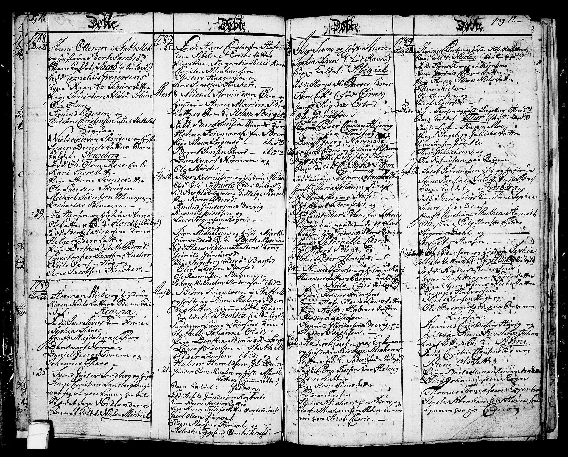 SAKO, Langesund kirkebøker, G/Ga/L0001: Klokkerbok nr. 1, 1783-1801, s. 16-17