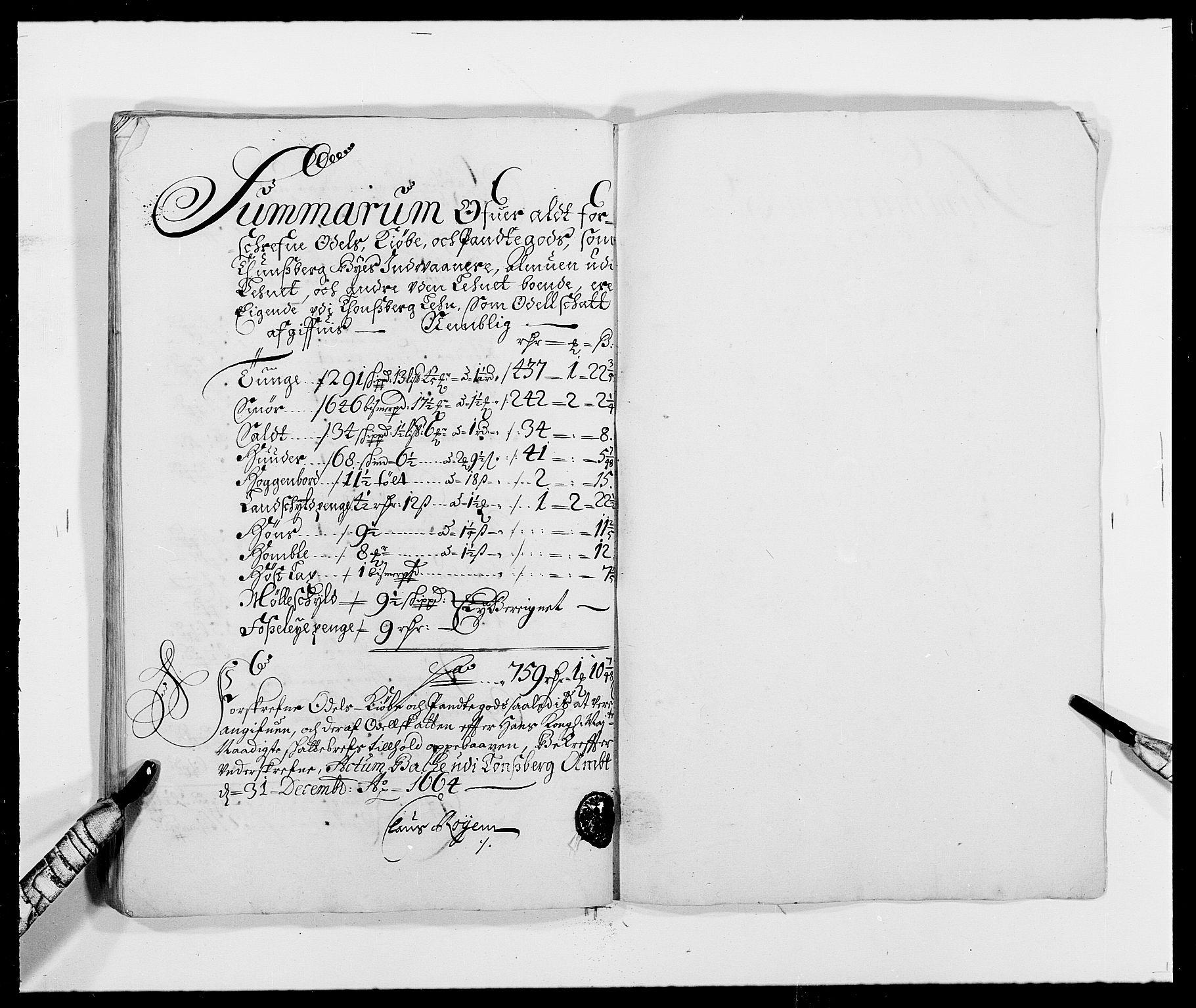 RA, Rentekammeret inntil 1814, Reviderte regnskaper, Fogderegnskap, R32/L1839: Fogderegnskap Jarlsberg grevskap, 1664-1673, s. 284