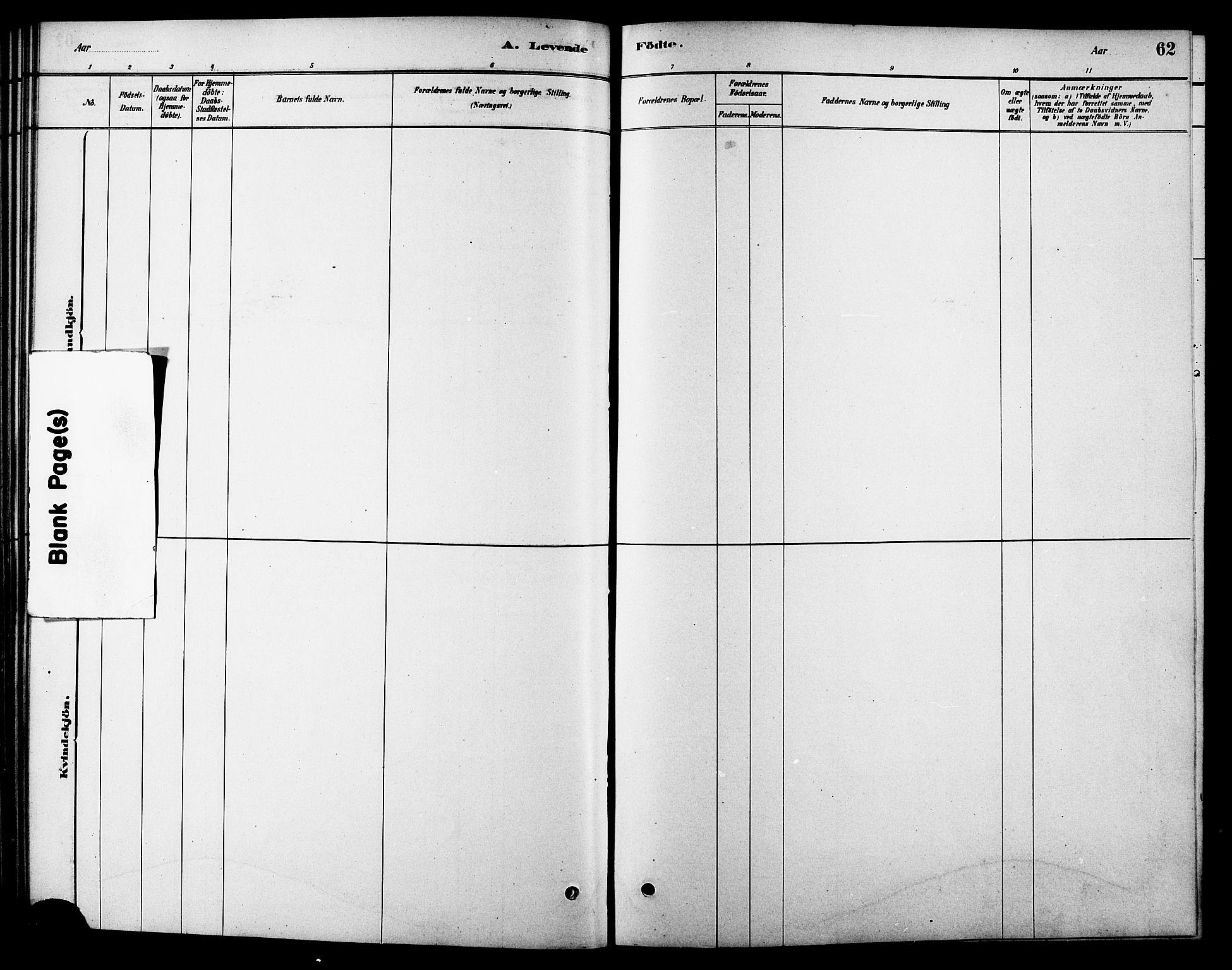 SAT, Ministerialprotokoller, klokkerbøker og fødselsregistre - Sør-Trøndelag, 688/L1024: Ministerialbok nr. 688A01, 1879-1890, s. 62