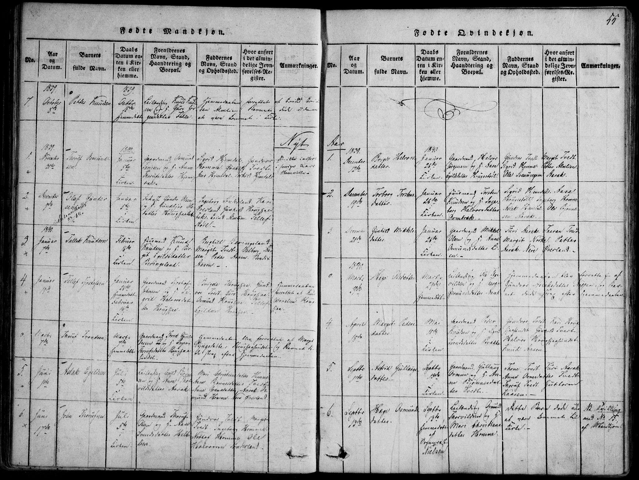 SAKO, Nissedal kirkebøker, F/Fb/L0001: Ministerialbok nr. II 1, 1814-1845, s. 55