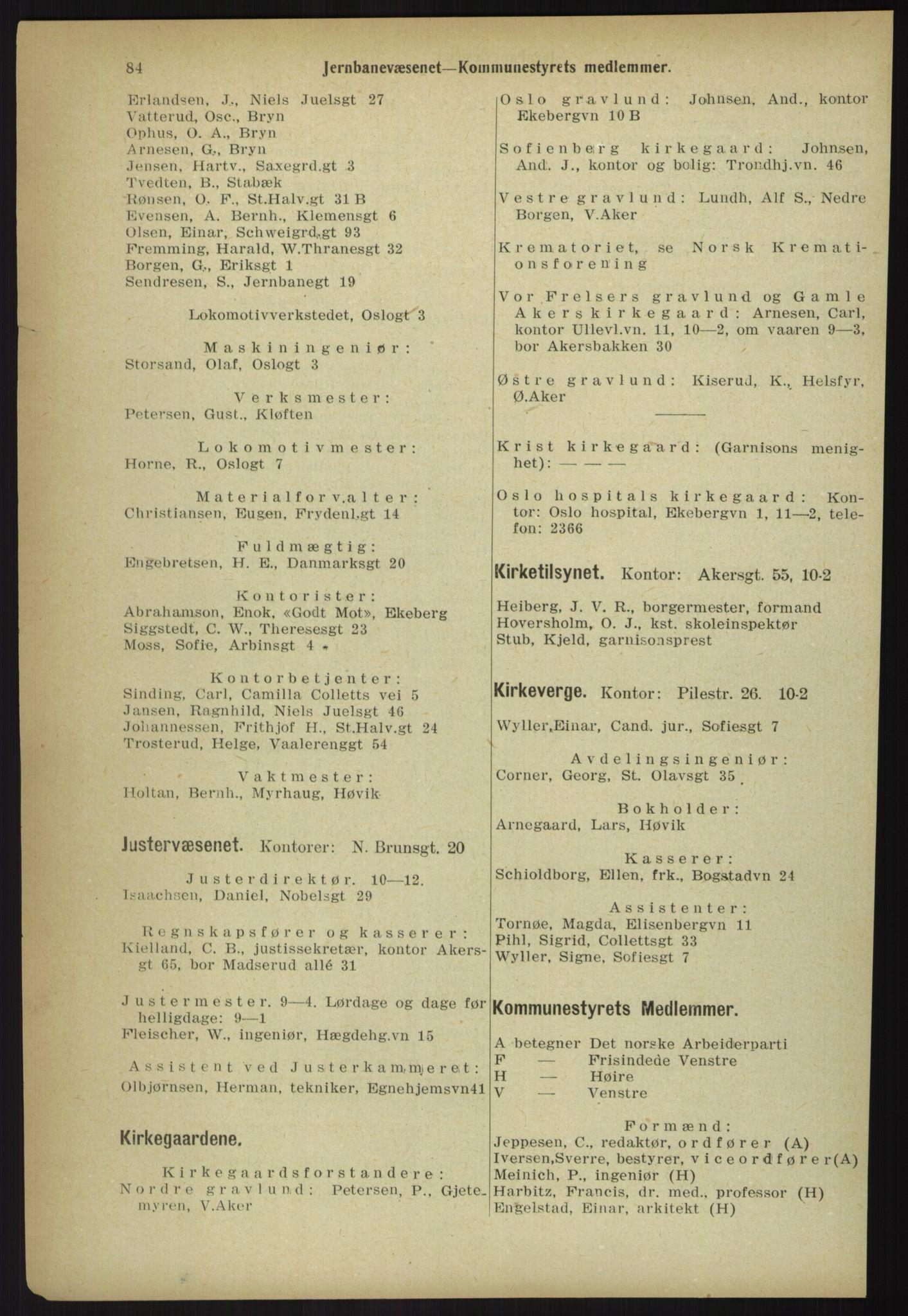 RA, Kristiania adressebok (publikasjon)*, 1918, s. 84