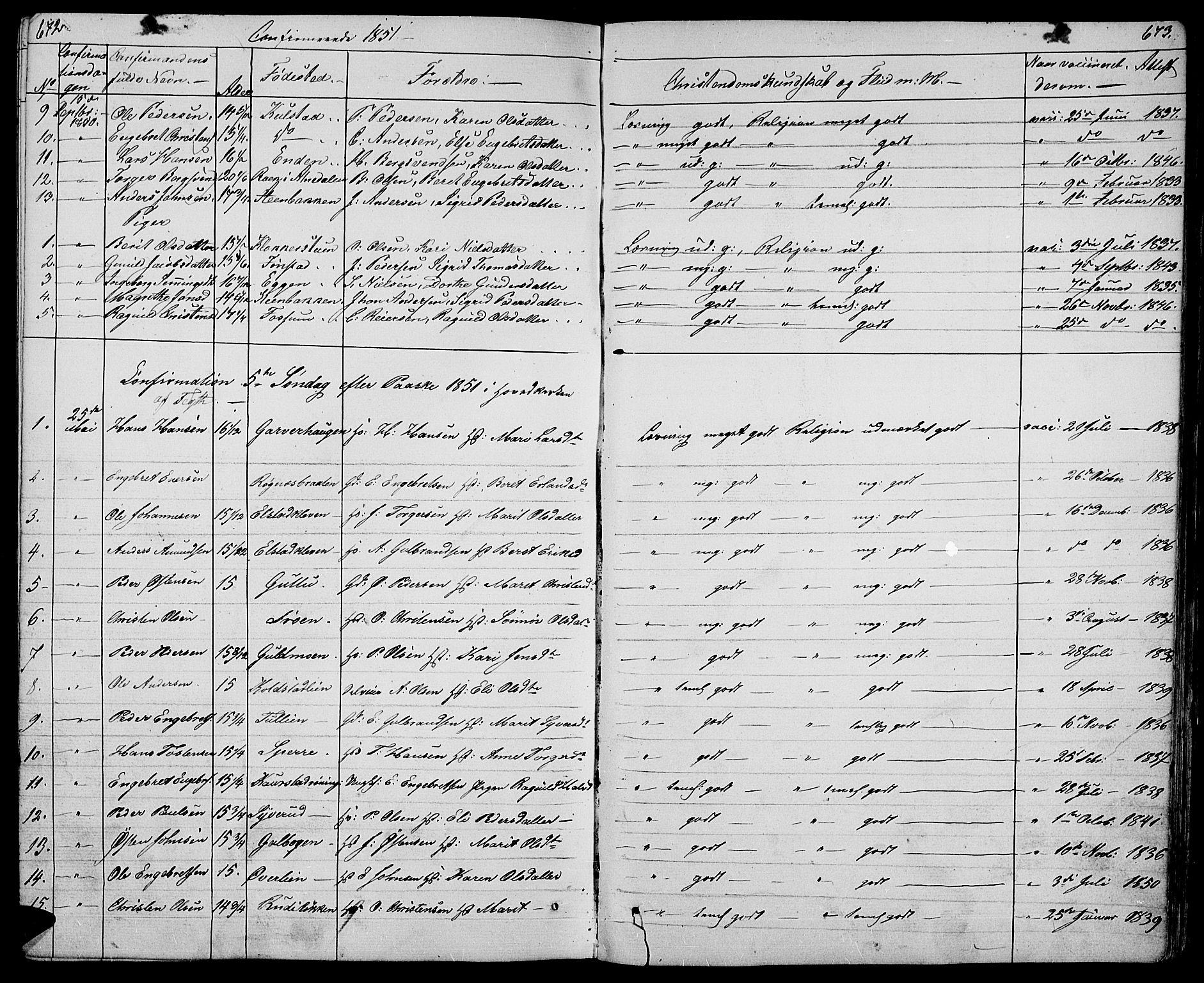 SAH, Ringebu prestekontor, Klokkerbok nr. 2, 1839-1853, s. 672-673