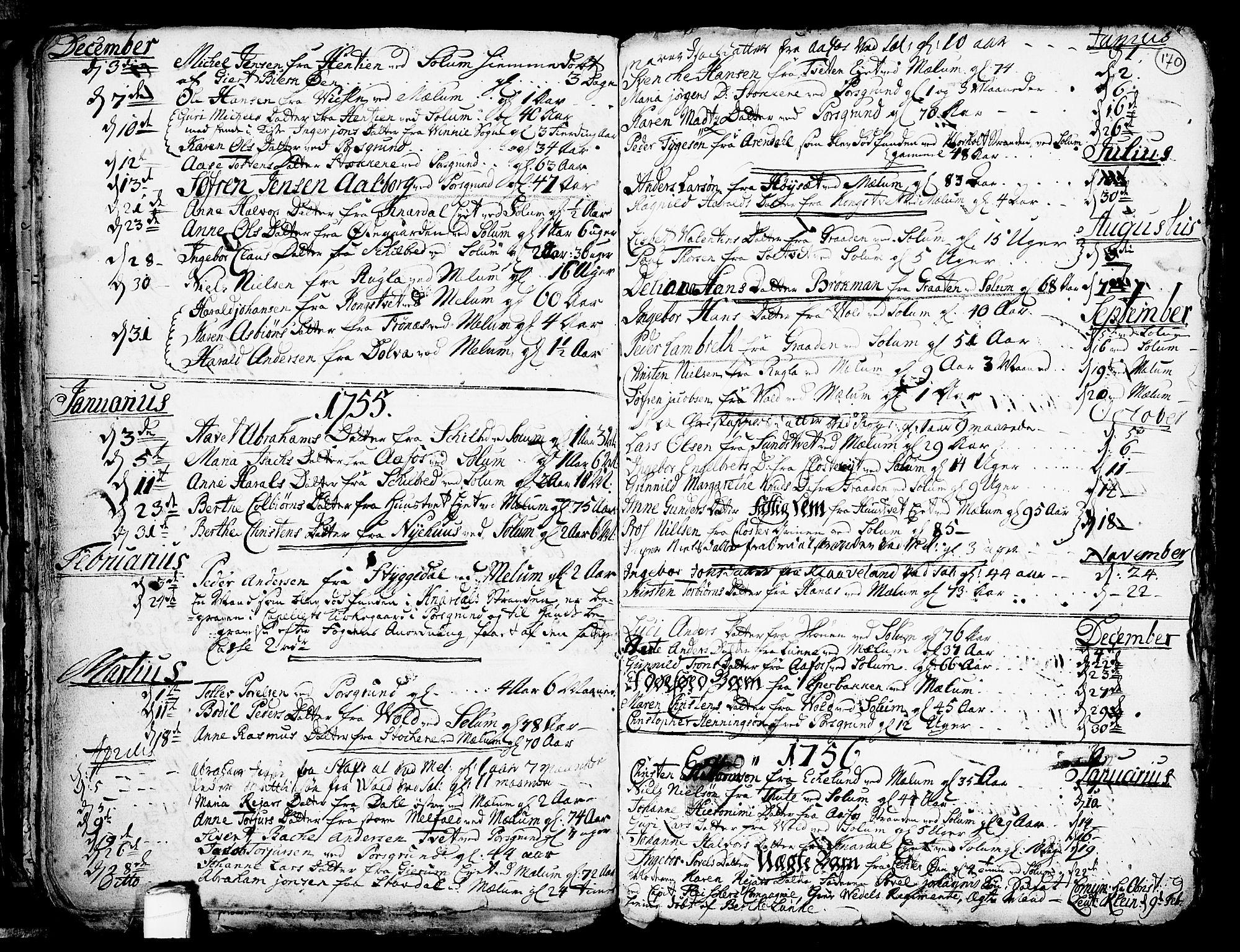 SAKO, Solum kirkebøker, F/Fa/L0002: Ministerialbok nr. I 2, 1713-1761, s. 170