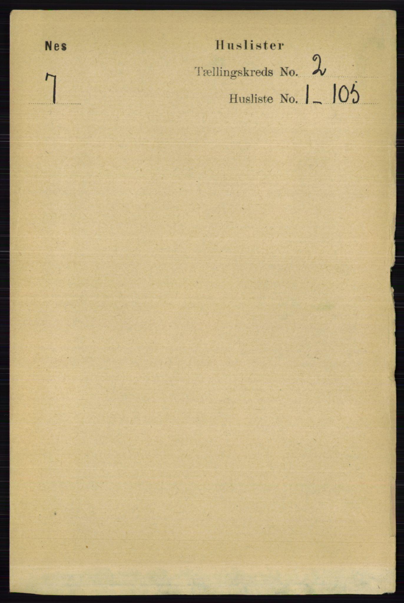 RA, Folketelling 1891 for 0236 Nes herred, 1891, s. 827