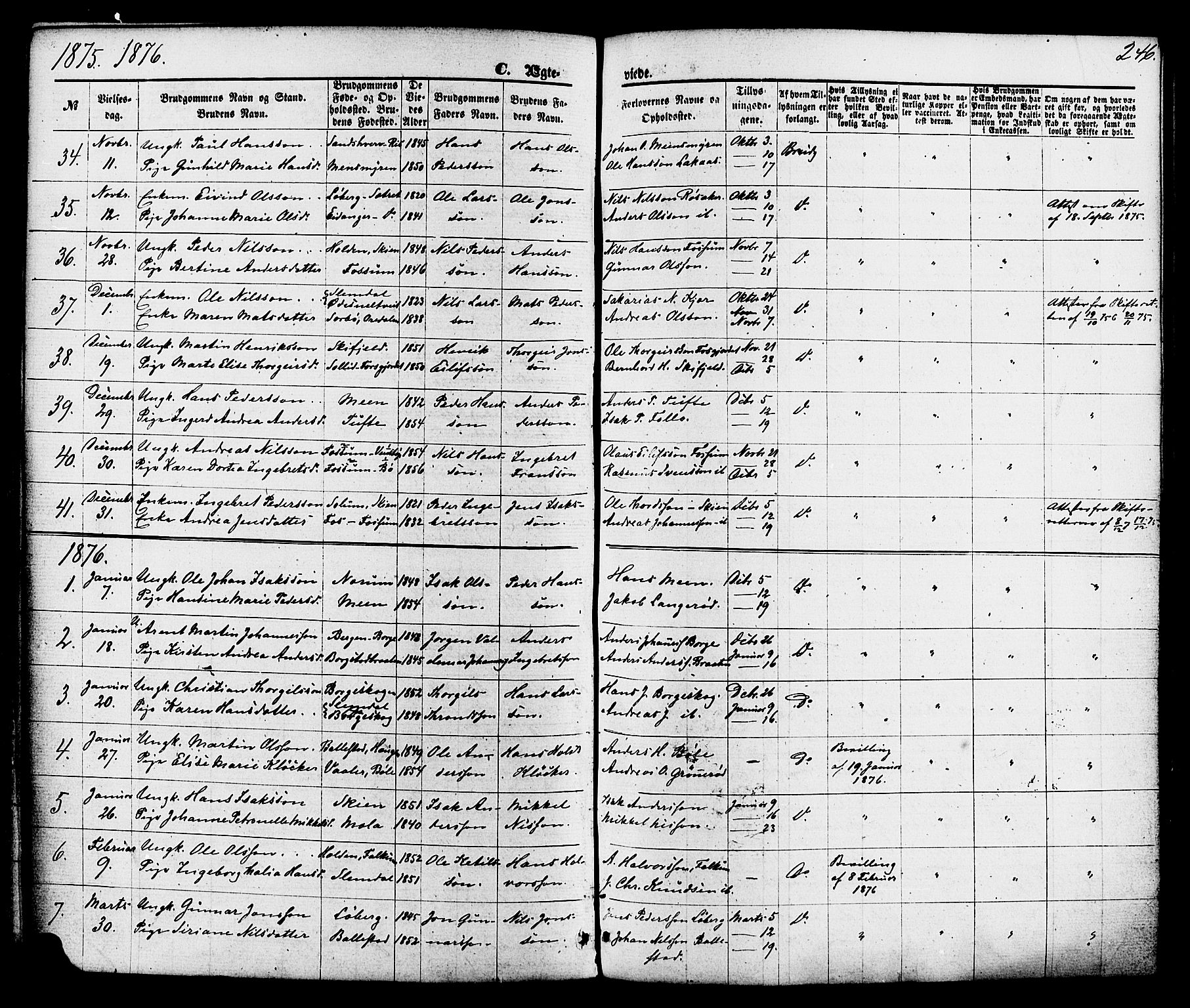 SAKO, Gjerpen kirkebøker, F/Fa/L0009: Ministerialbok nr. 9, 1872-1885, s. 246