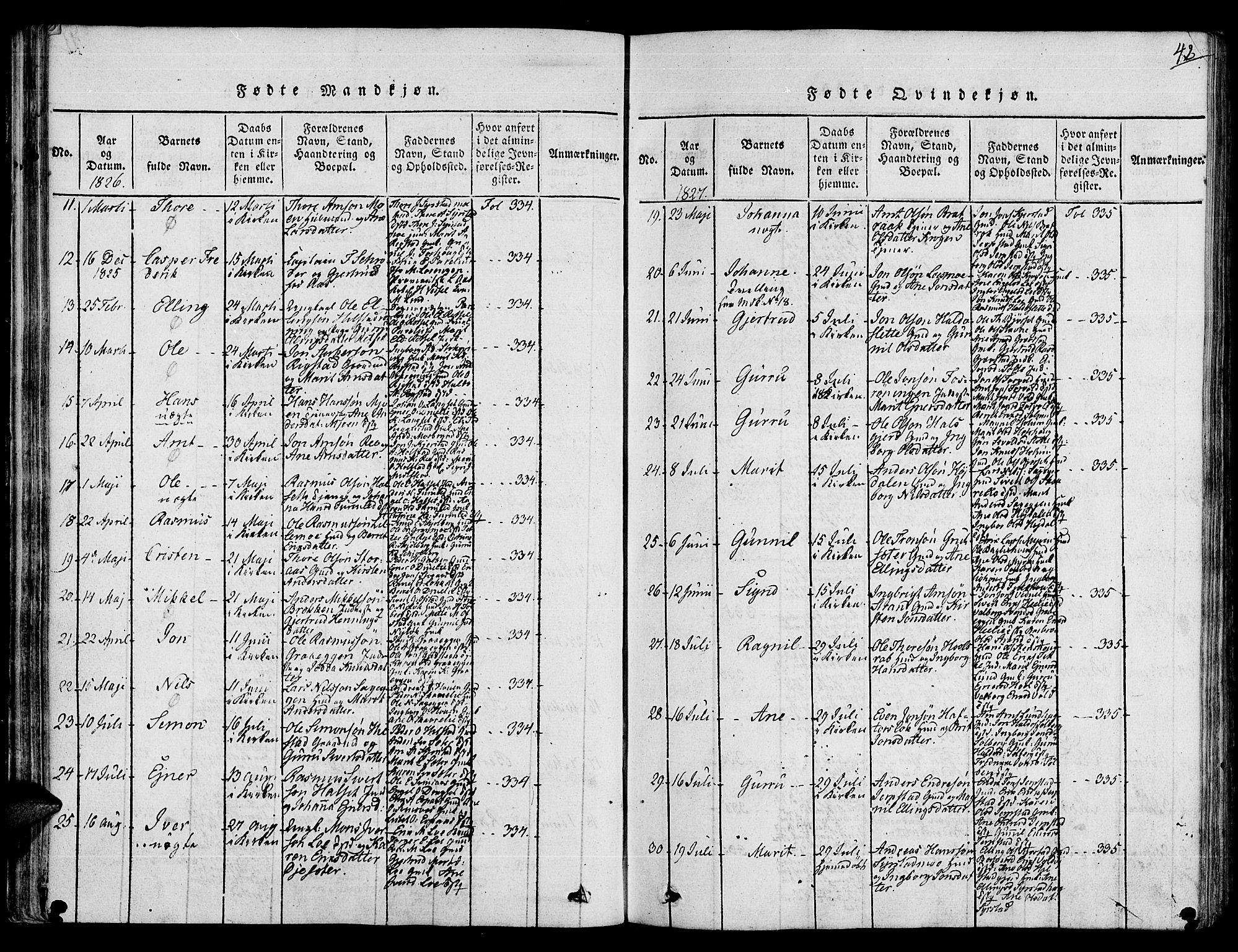SAT, Ministerialprotokoller, klokkerbøker og fødselsregistre - Sør-Trøndelag, 672/L0853: Ministerialbok nr. 672A06 /1, 1816-1829, s. 42