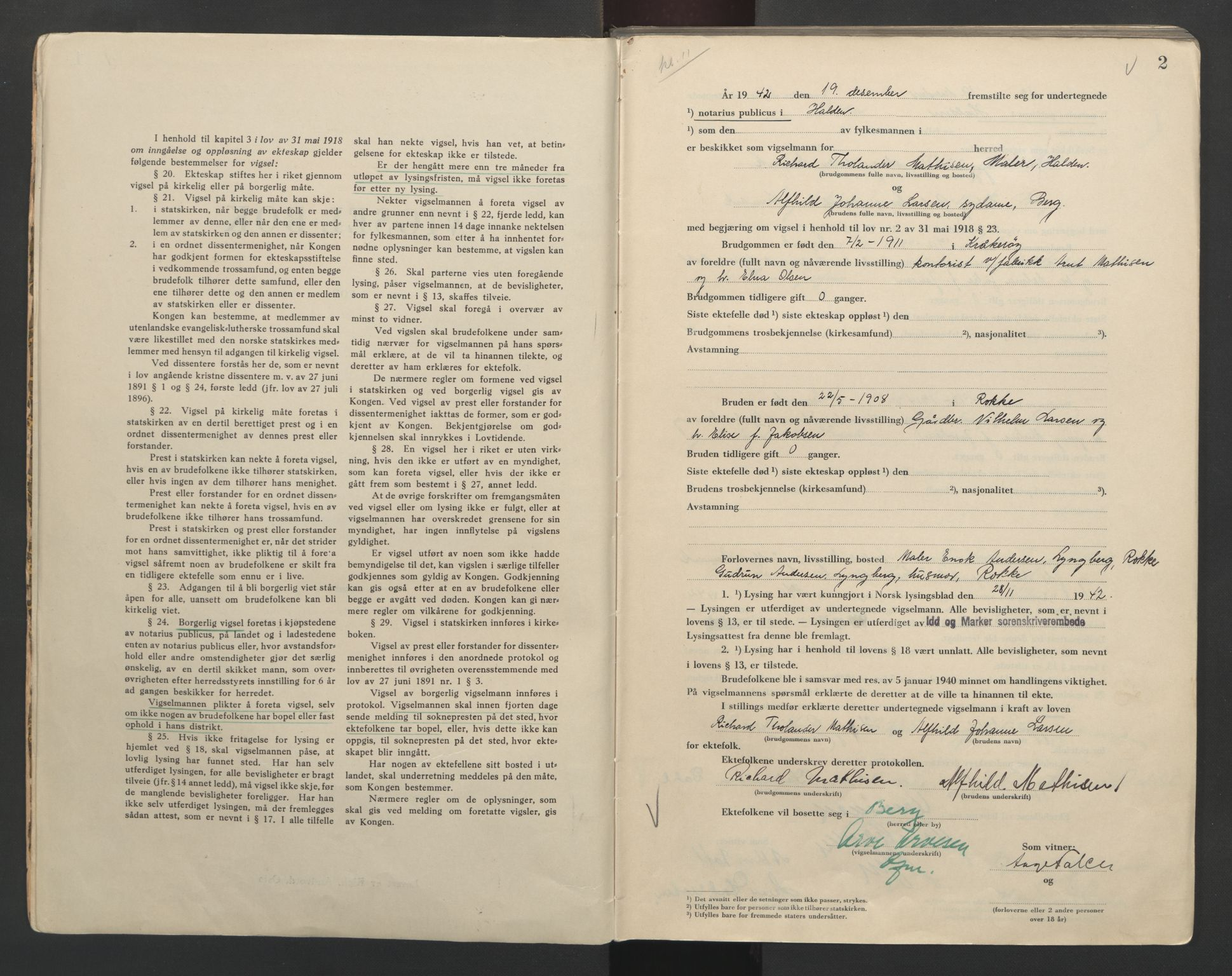 SAO, Idd og Marker sorenskriveri, L/Lc/L0001: Vigselsbøker, 1942-1944, s. 2