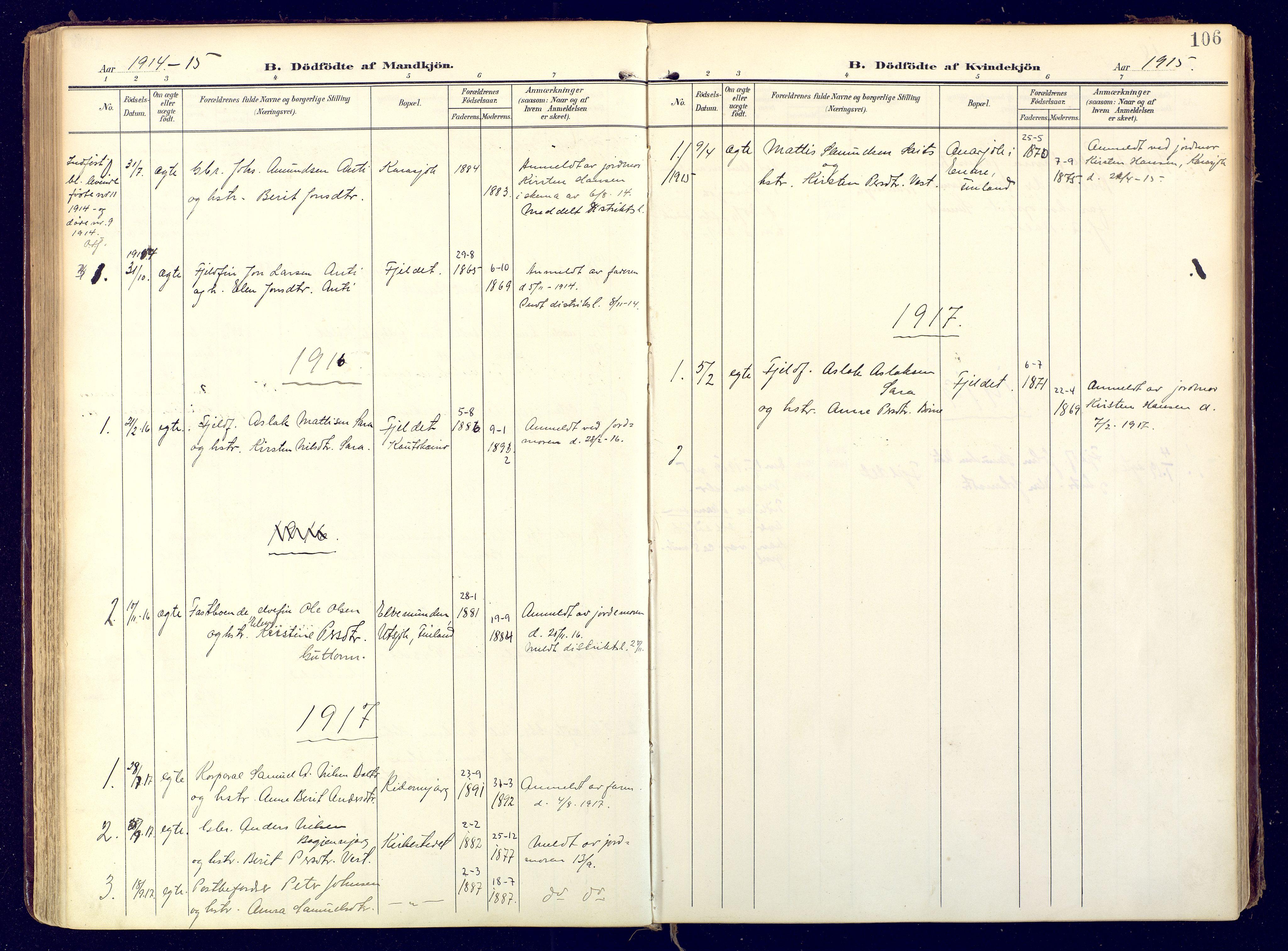 SATØ, Karasjok sokneprestkontor, H/Ha: Ministerialbok nr. 3, 1907-1926, s. 106