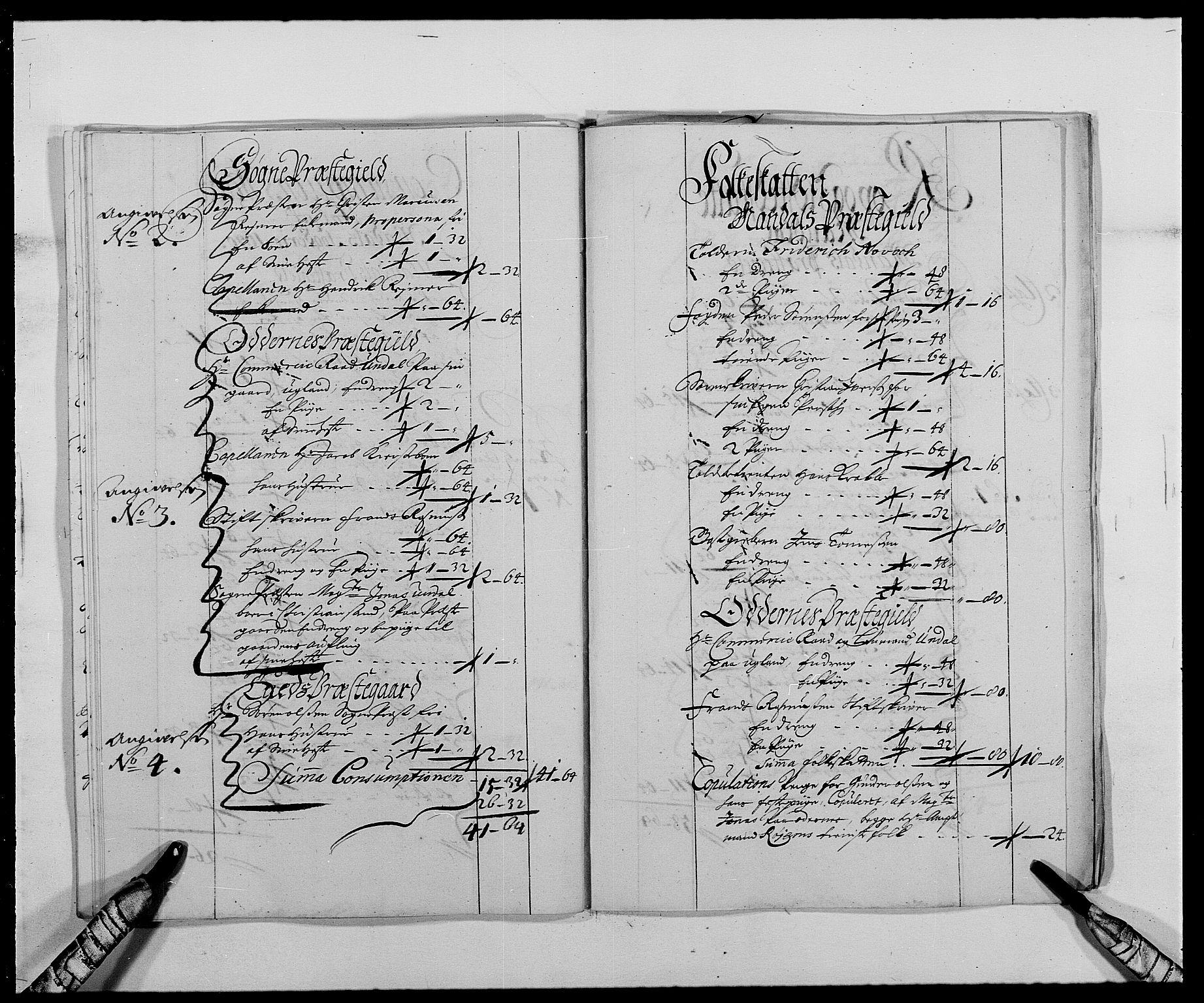 RA, Rentekammeret inntil 1814, Reviderte regnskaper, Fogderegnskap, R42/L2543: Mandal fogderi, 1688-1691, s. 194