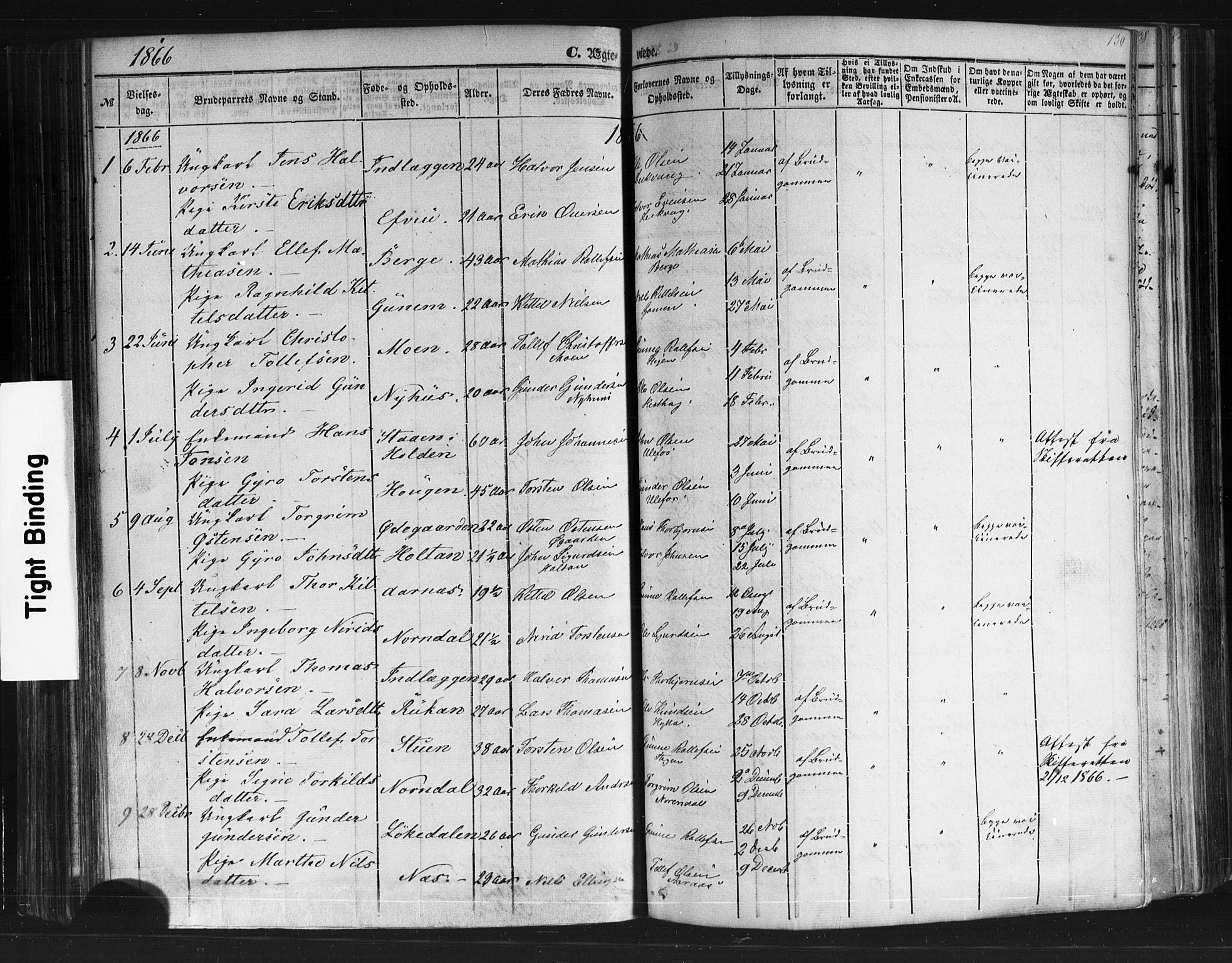 SAKO, Sauherad kirkebøker, F/Fb/L0001: Ministerialbok nr. II 1, 1851-1877, s. 130