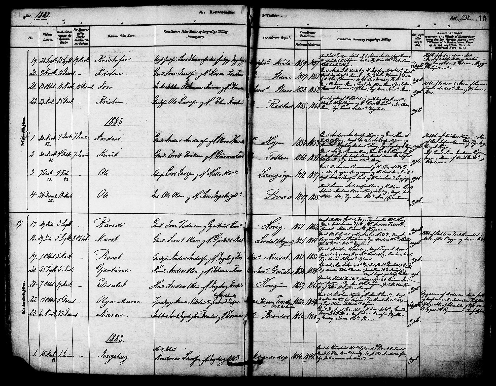SAT, Ministerialprotokoller, klokkerbøker og fødselsregistre - Sør-Trøndelag, 612/L0378: Ministerialbok nr. 612A10, 1878-1897, s. 15