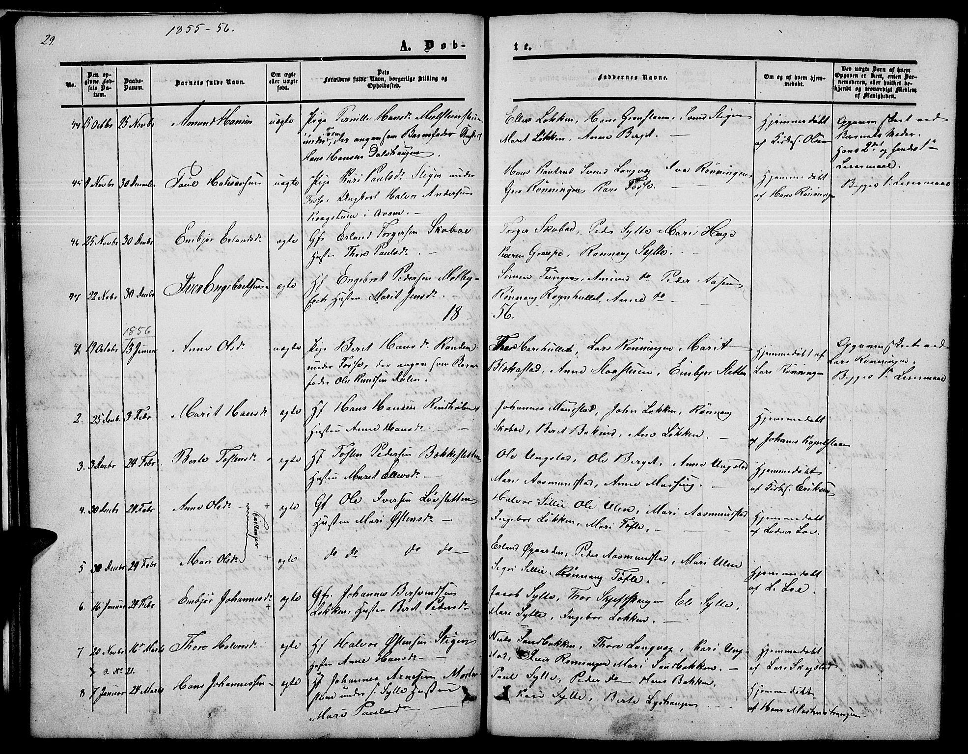 SAH, Nord-Fron prestekontor, Klokkerbok nr. 2, 1851-1883, s. 29