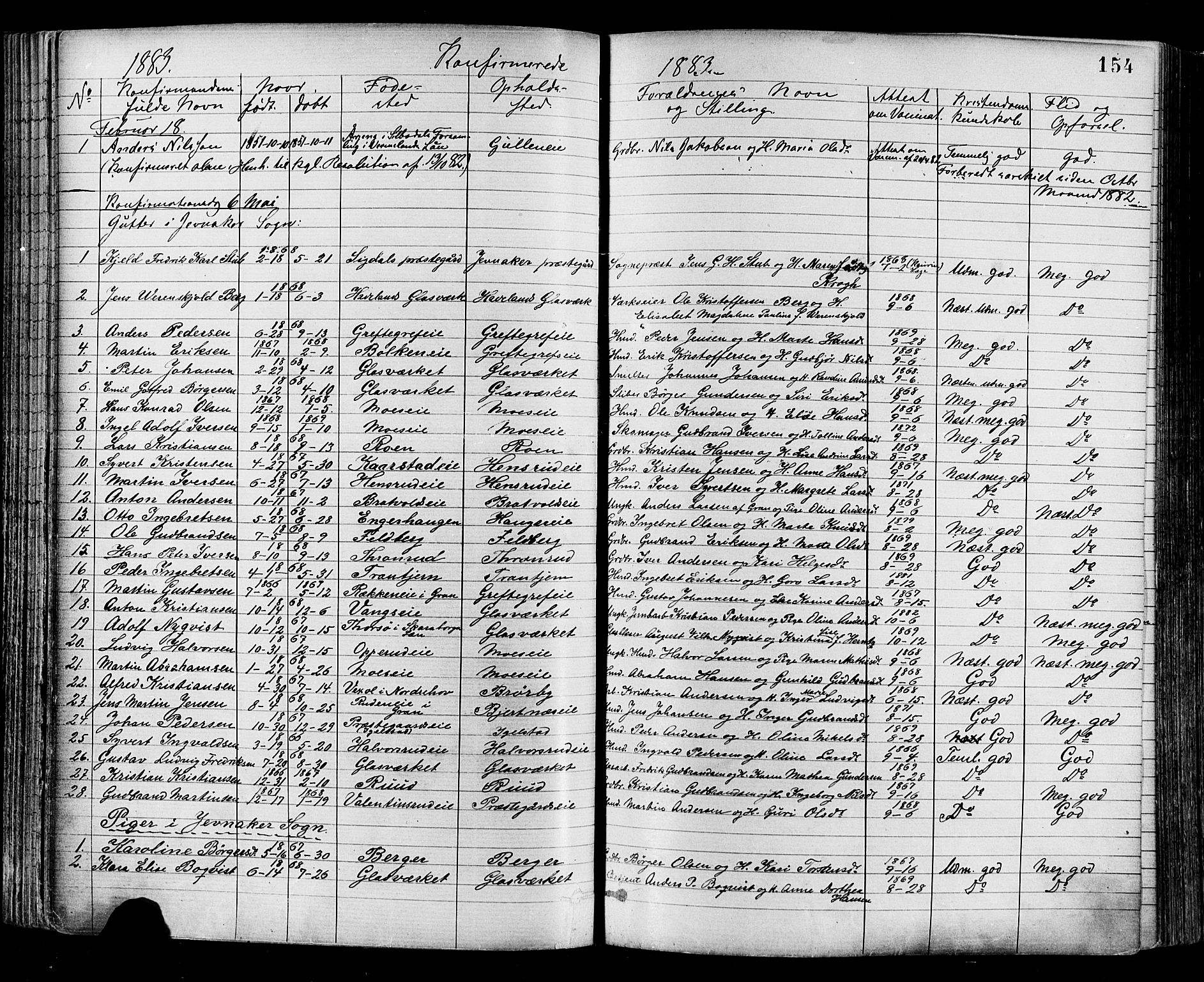 SAH, Jevnaker prestekontor, Ministerialbok nr. 8, 1877-1890, s. 154