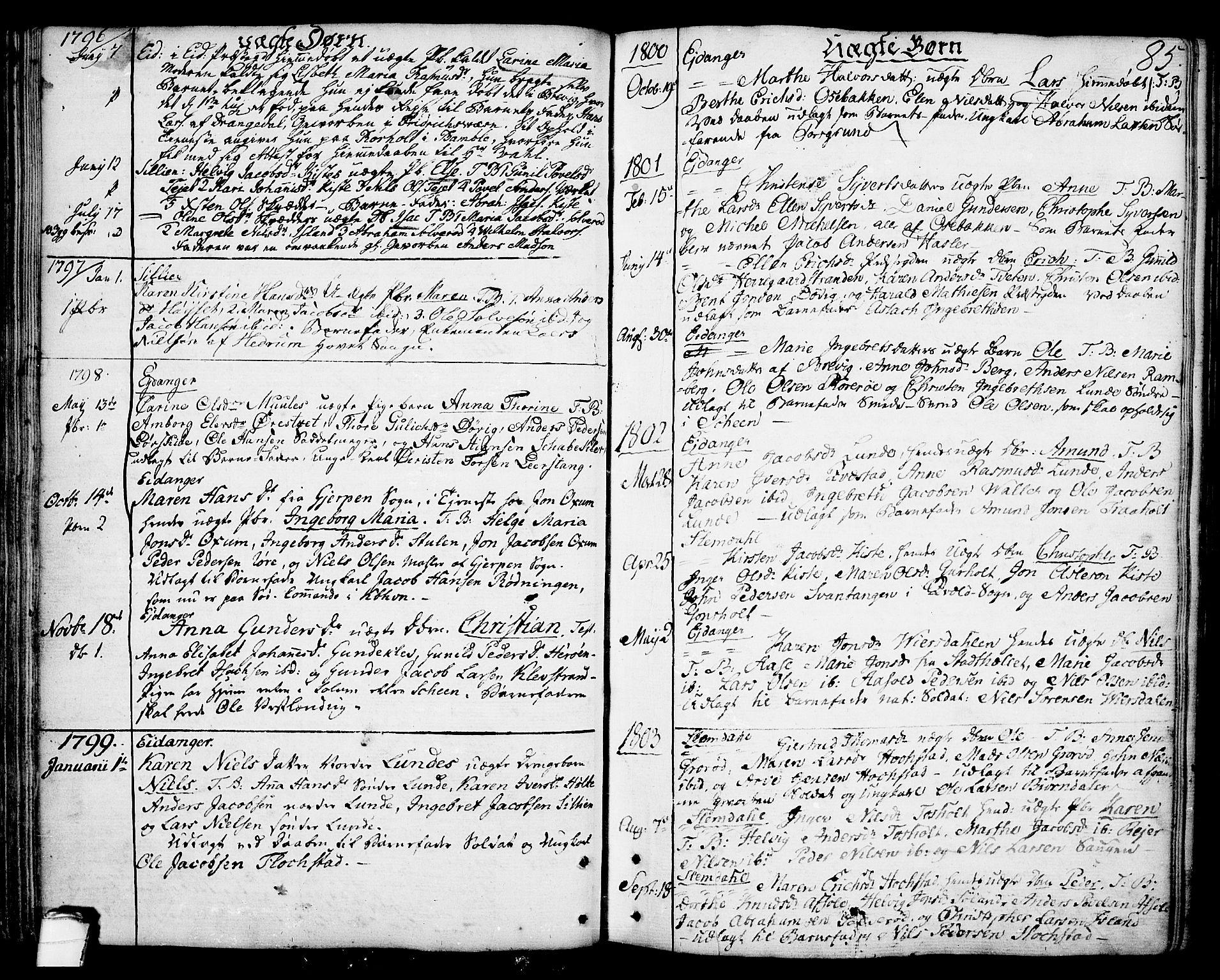 SAKO, Eidanger kirkebøker, F/Fa/L0006: Ministerialbok nr. 6, 1764-1814, s. 85