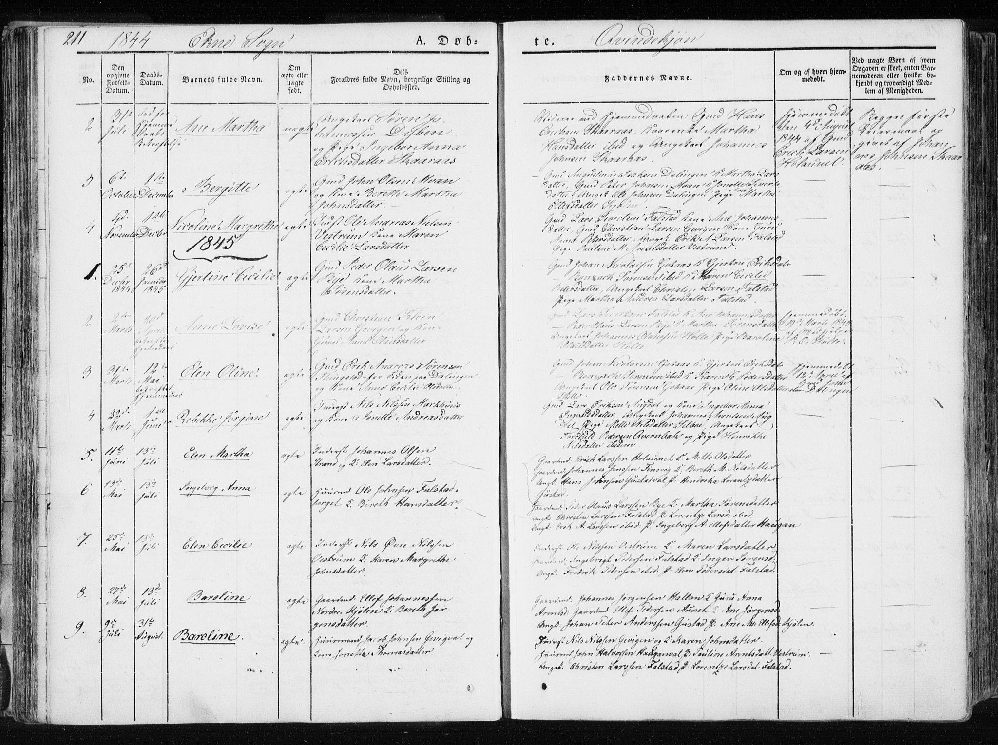 SAT, Ministerialprotokoller, klokkerbøker og fødselsregistre - Nord-Trøndelag, 717/L0154: Ministerialbok nr. 717A06 /2, 1836-1849, s. 211