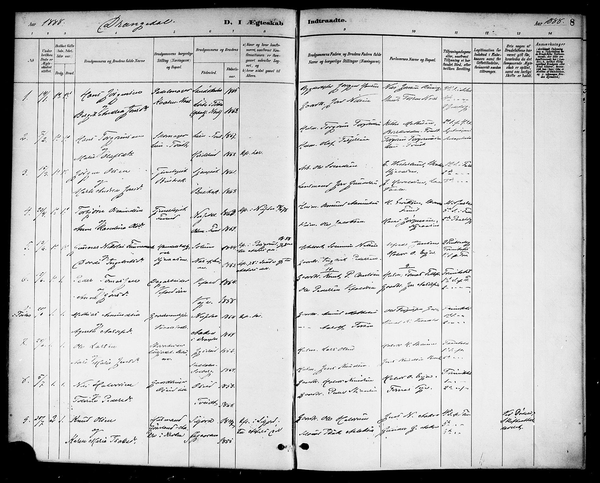 SAKO, Drangedal kirkebøker, F/Fa/L0011: Ministerialbok nr. 11 /1, 1885-1894, s. 8