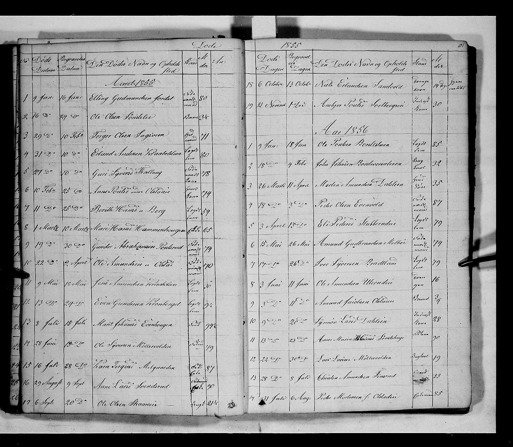 SAH, Gausdal prestekontor, Klokkerbok nr. 5, 1846-1867, s. 101