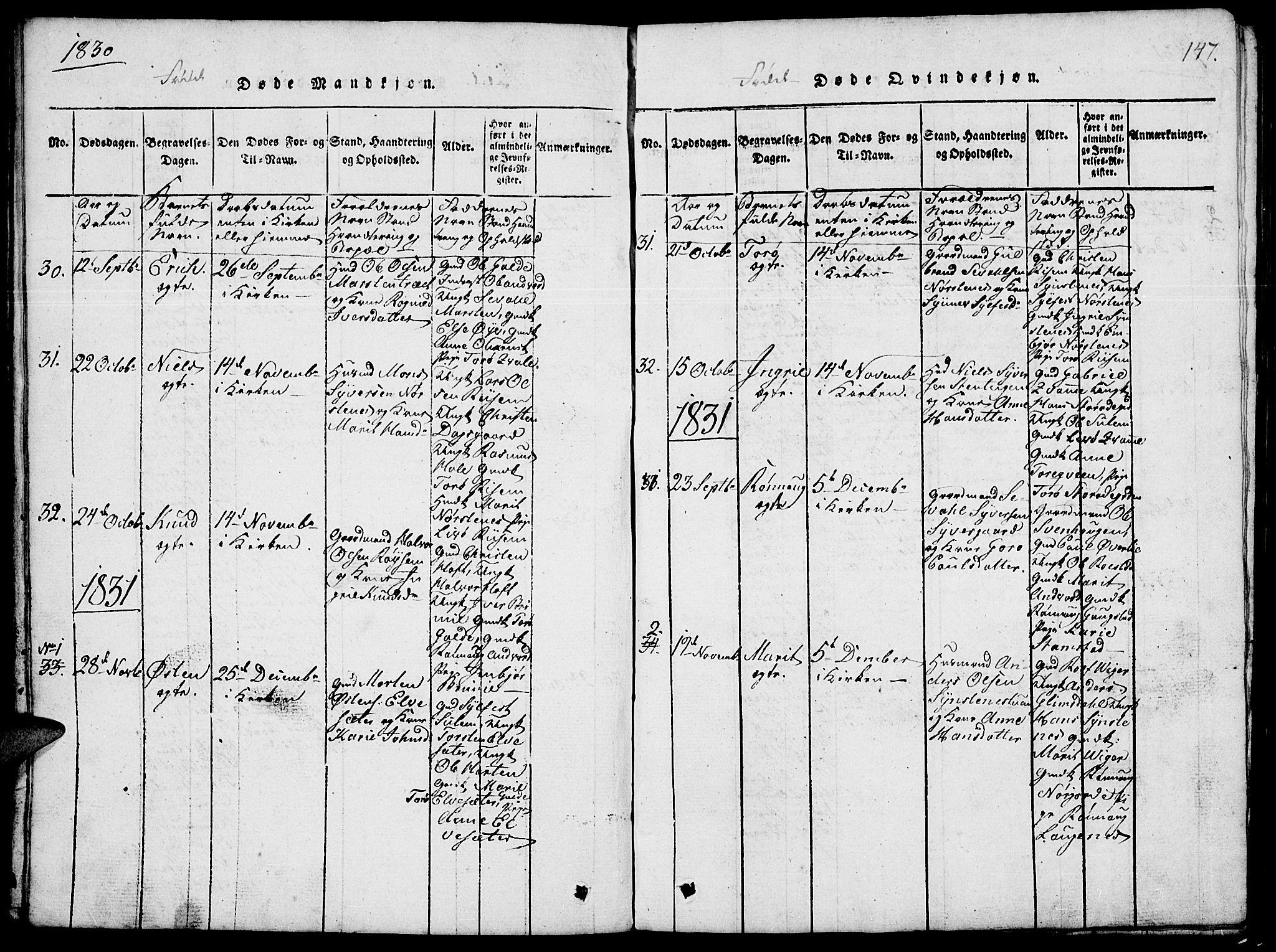 SAH, Lom prestekontor, L/L0001: Klokkerbok nr. 1, 1815-1836, s. 147