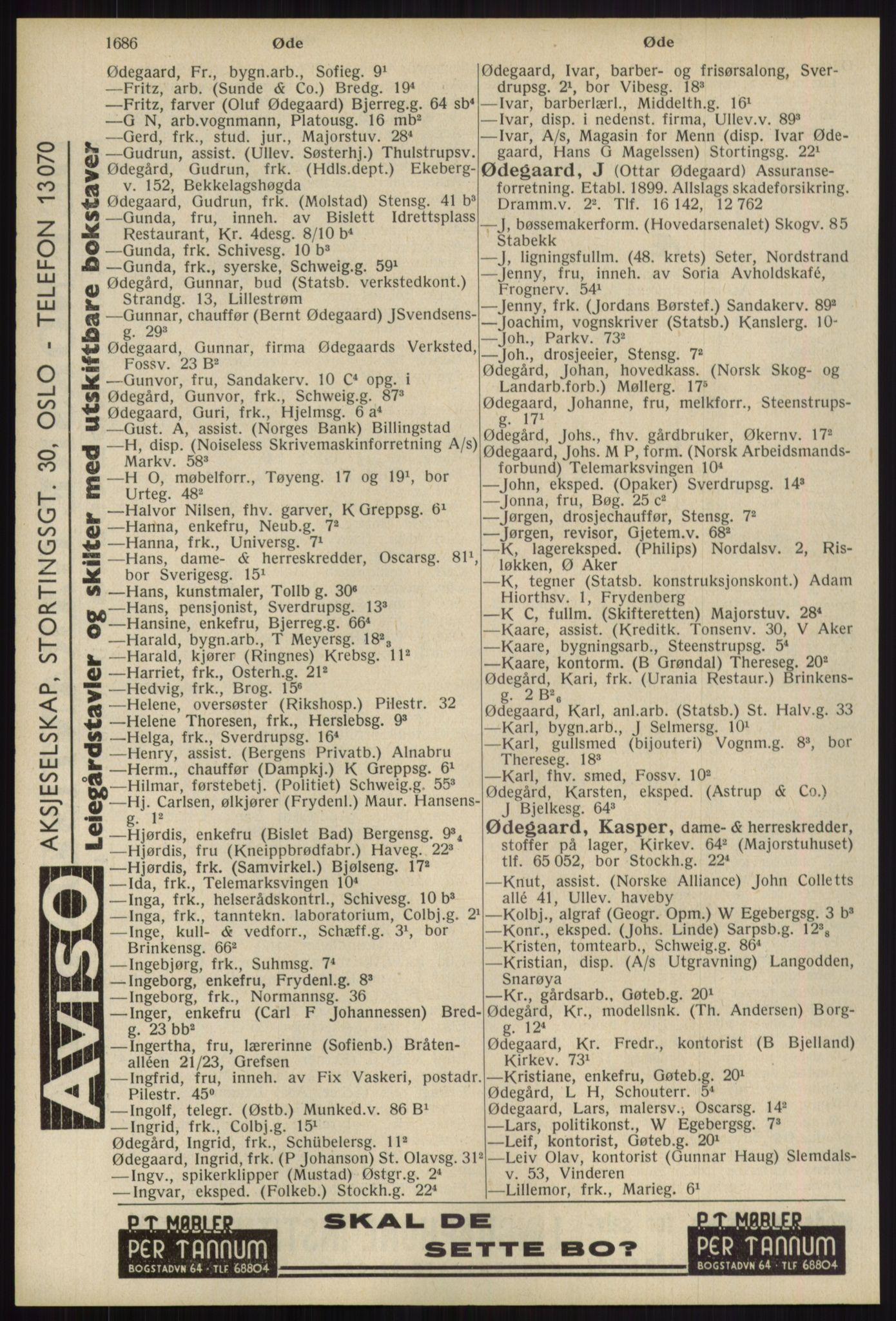 RA, Oslo adressebok (publikasjon)*, 1939, s. 1686