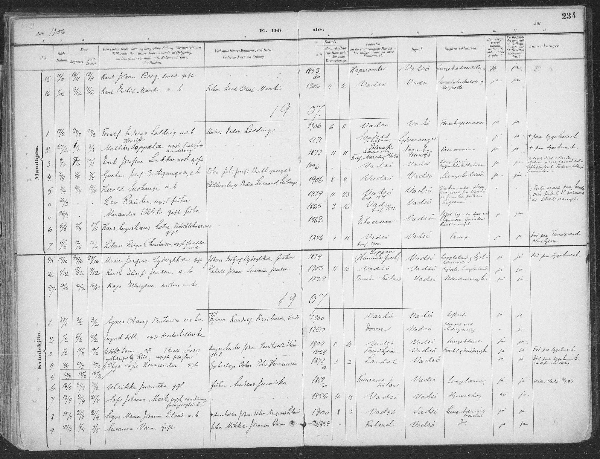 SATØ, Vadsø sokneprestkontor, H/Ha/L0007kirke: Ministerialbok nr. 7, 1896-1916, s. 234