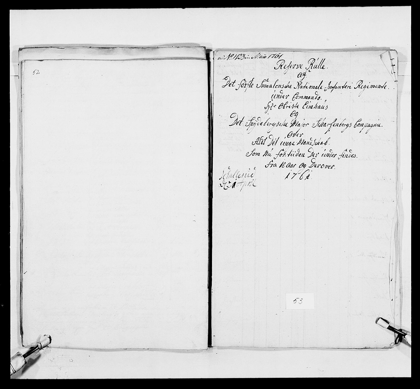 RA, Kommanderende general (KG I) med Det norske krigsdirektorium, E/Ea/L0495: 1. Smålenske regiment, 1732-1763, s. 693
