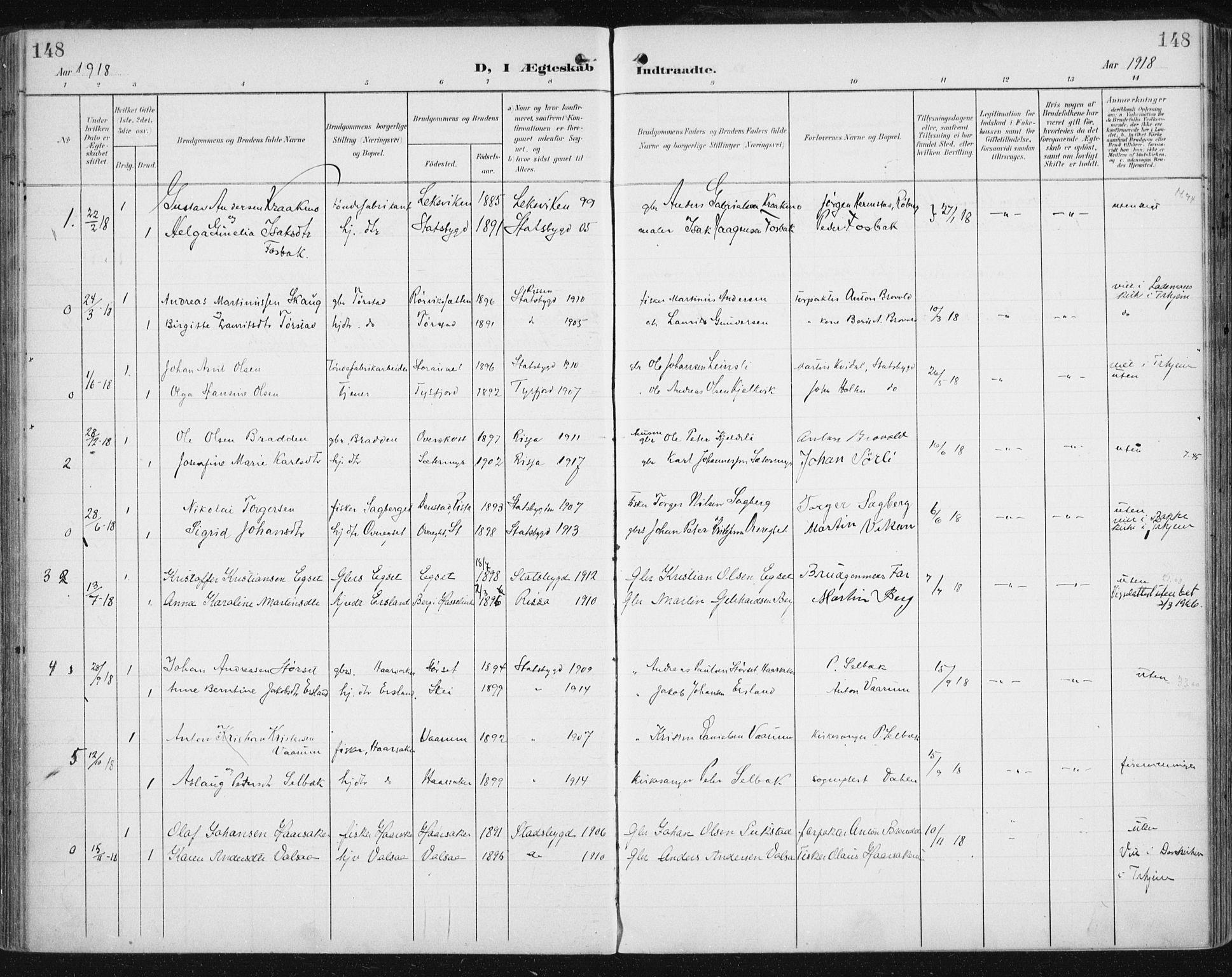 SAT, Ministerialprotokoller, klokkerbøker og fødselsregistre - Sør-Trøndelag, 646/L0616: Ministerialbok nr. 646A14, 1900-1918, s. 148