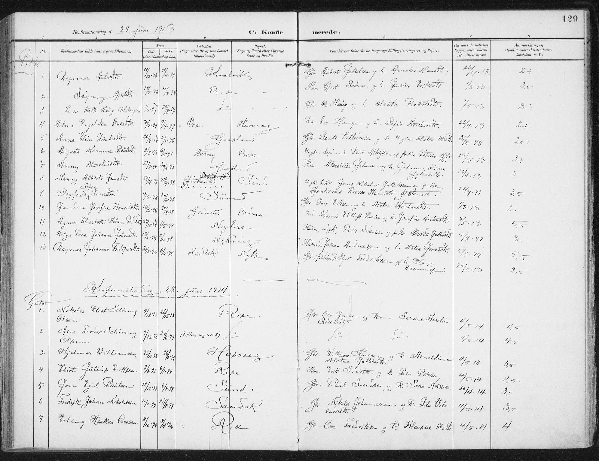 SAT, Ministerialprotokoller, klokkerbøker og fødselsregistre - Nordland, 892/L1321: Ministerialbok nr. 892A02, 1902-1918, s. 129