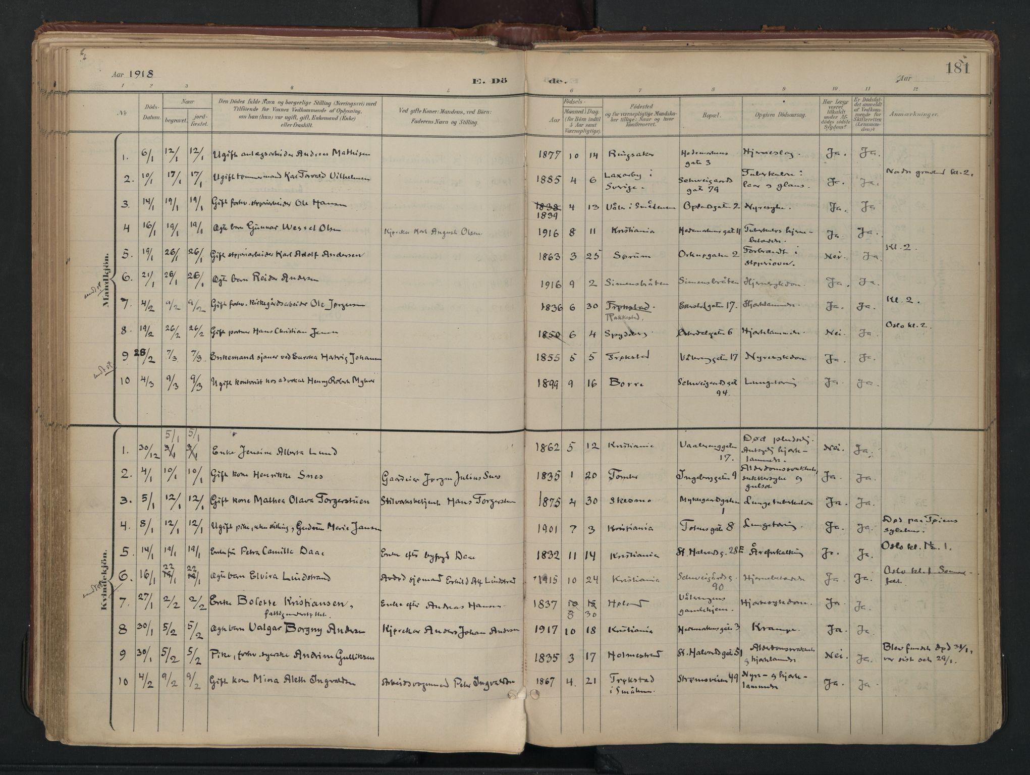 SAO, Vålerengen prestekontor Kirkebøker, F/Fa/L0003: Ministerialbok nr. 3, 1899-1930, s. 181