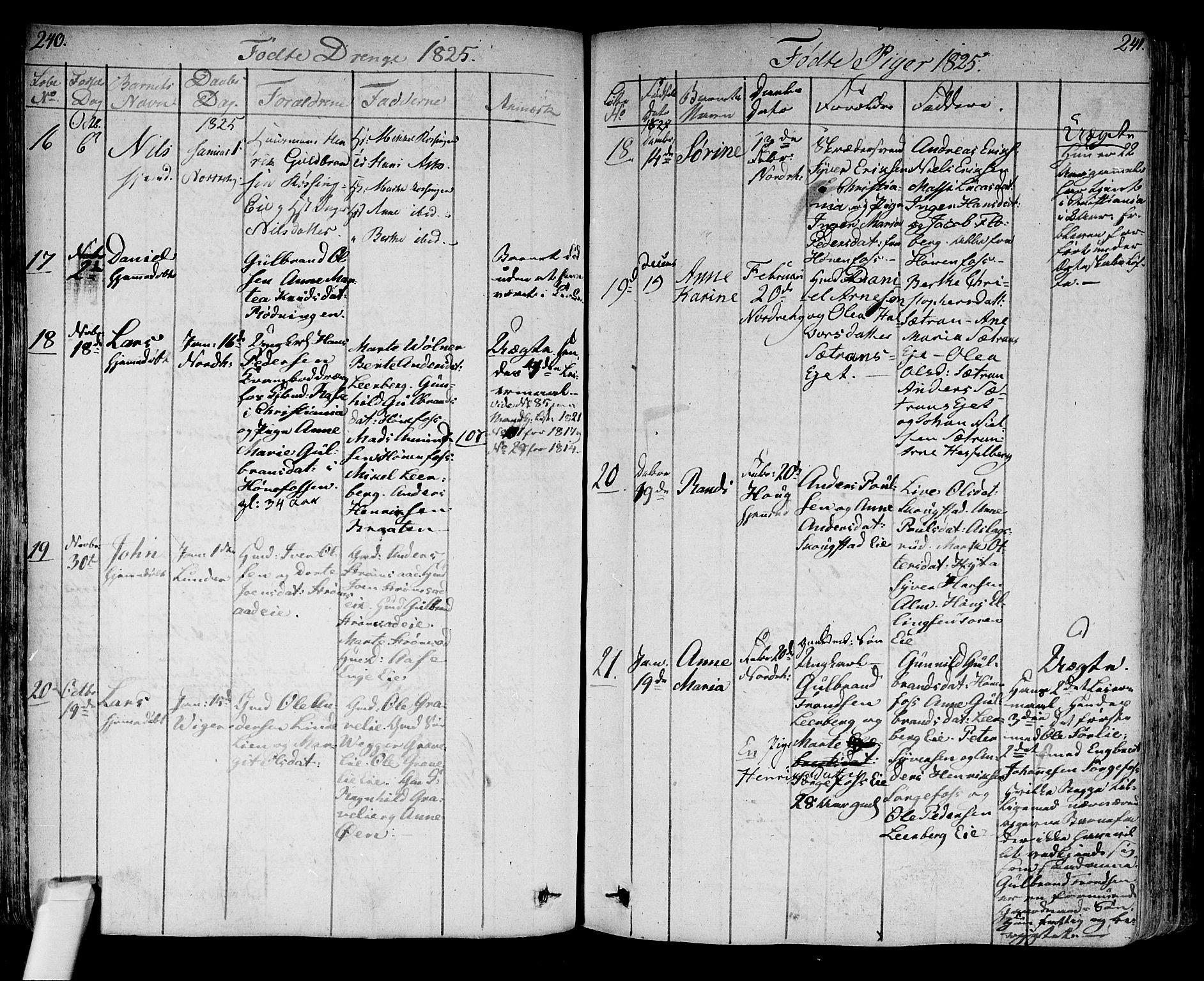 SAKO, Norderhov kirkebøker, F/Fa/L0009: Ministerialbok nr. 9, 1819-1837, s. 240-241