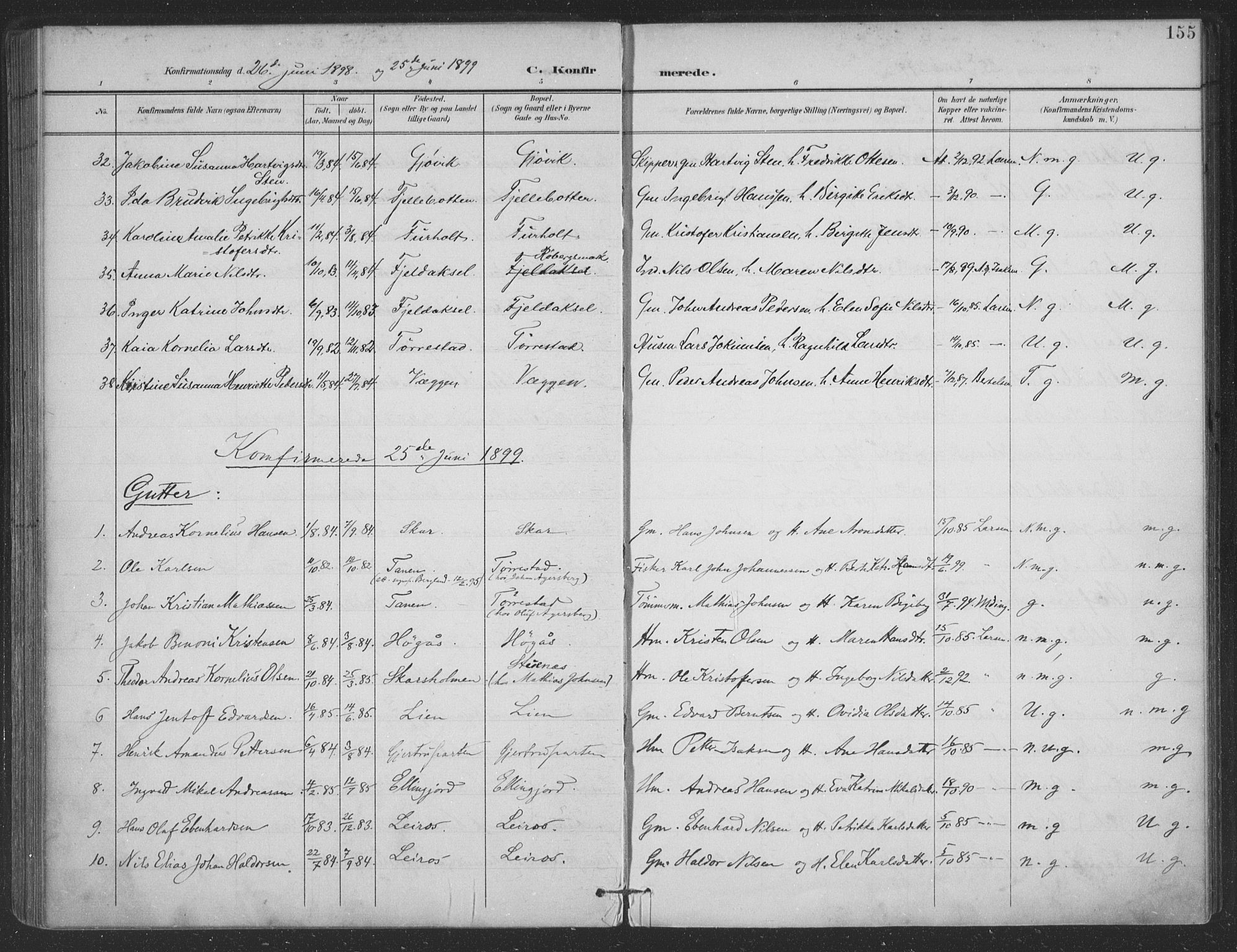SAT, Ministerialprotokoller, klokkerbøker og fødselsregistre - Nordland, 863/L0899: Ministerialbok nr. 863A11, 1897-1906, s. 155