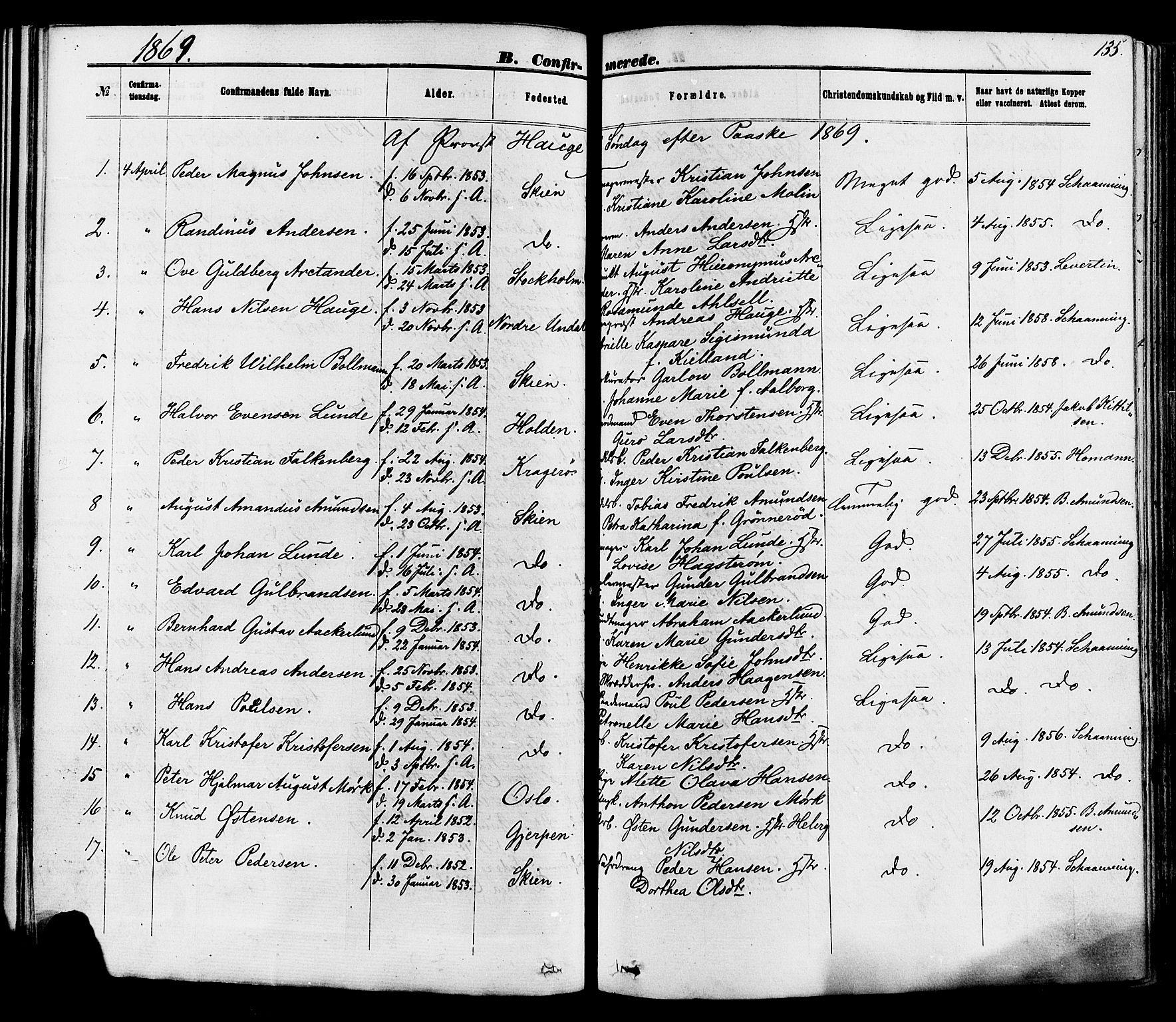 SAKO, Skien kirkebøker, F/Fa/L0008: Ministerialbok nr. 8, 1866-1877, s. 135